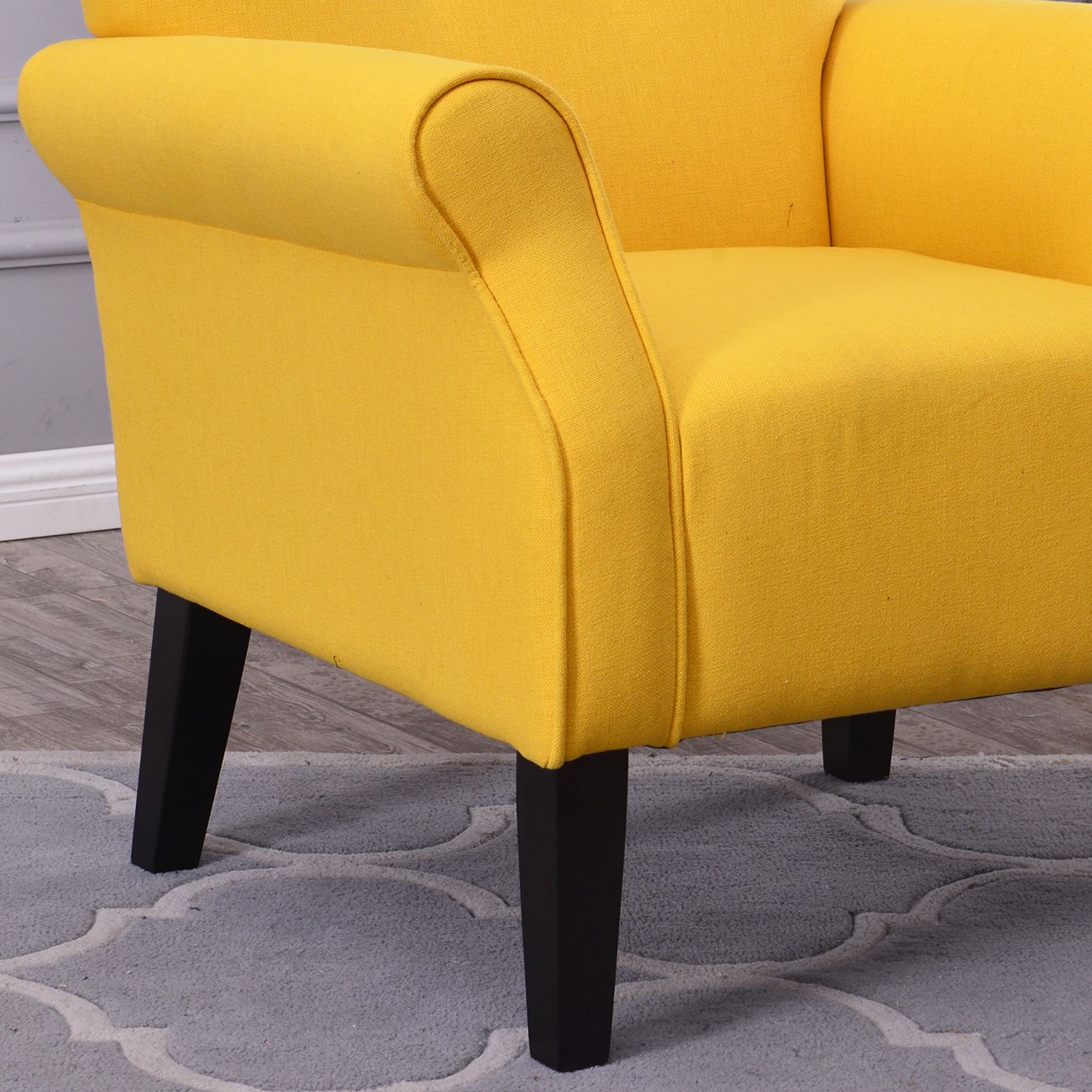 Yellow Accent Chair: Arm Chair Accent Single Sofa Linen Fabric Upholstered