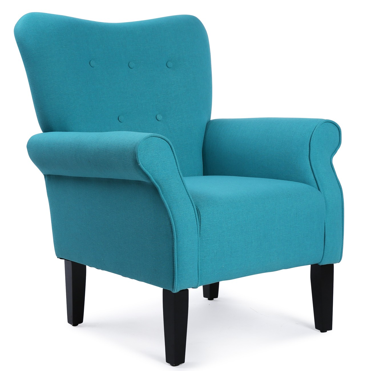Wooden Arm Chairs In Teal ~ Elegant design fabric club chair w button accent arm rest
