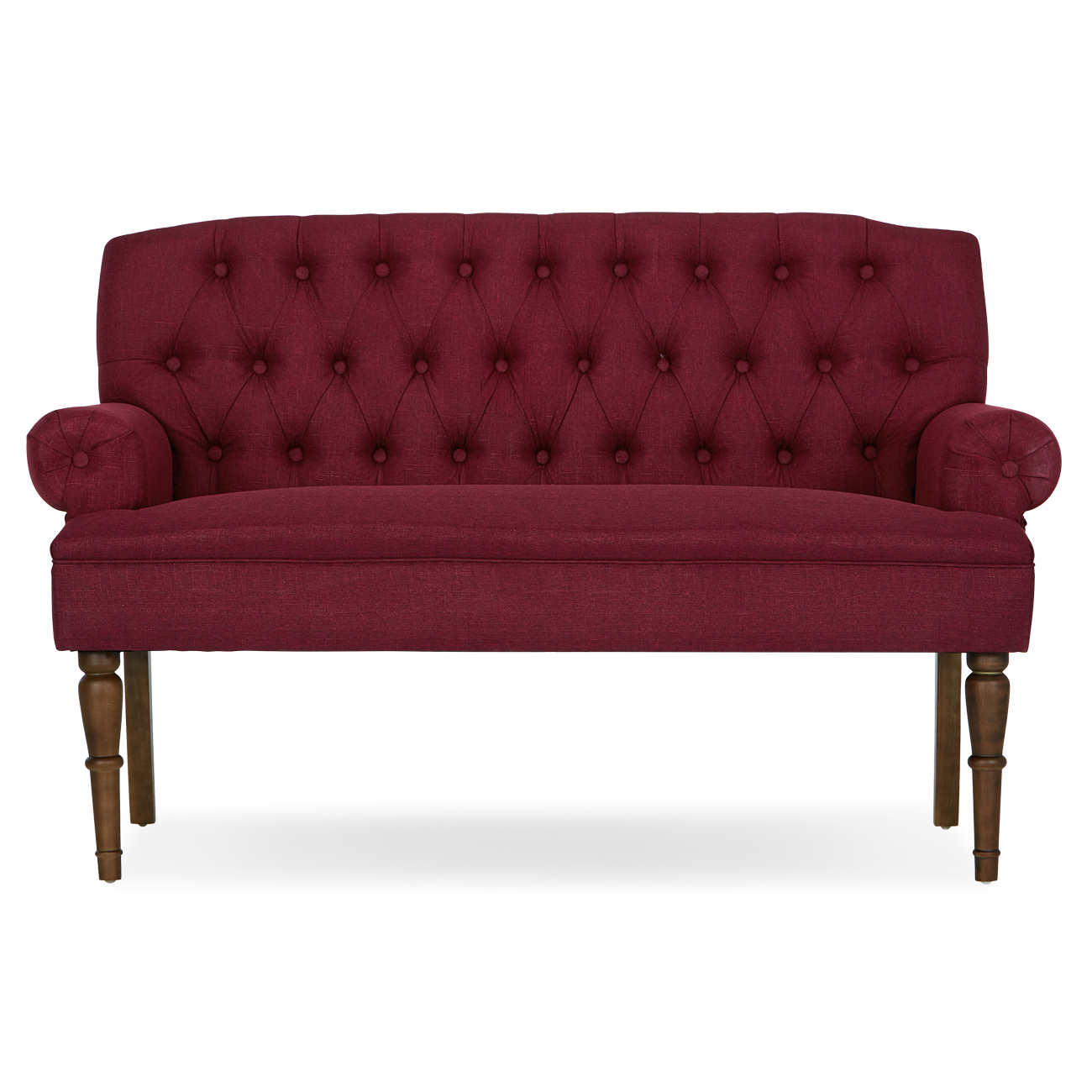 Button Tufted Settee Vintage Sofa Bench W Linen Fabric