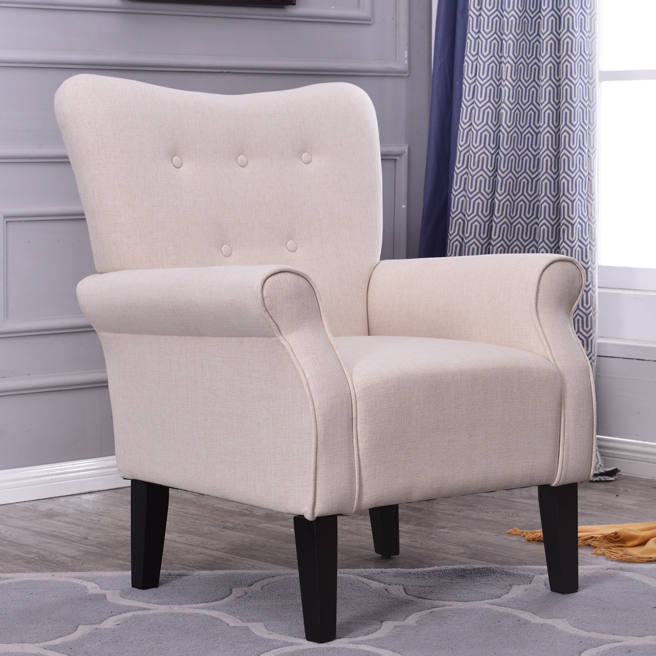 accent armchairs for living room button back armchair accent high back living room bedroom 22739