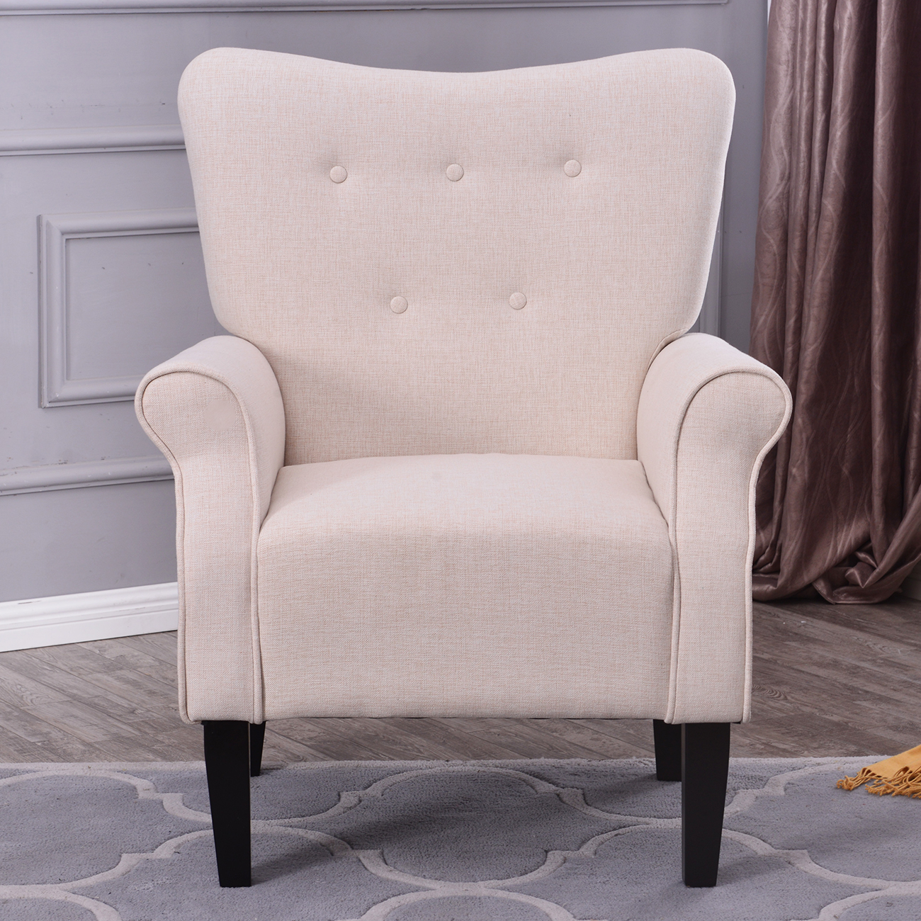 Button Back Armchair Accent High Back Living Room Bedroom Upholstered Linen Ebay