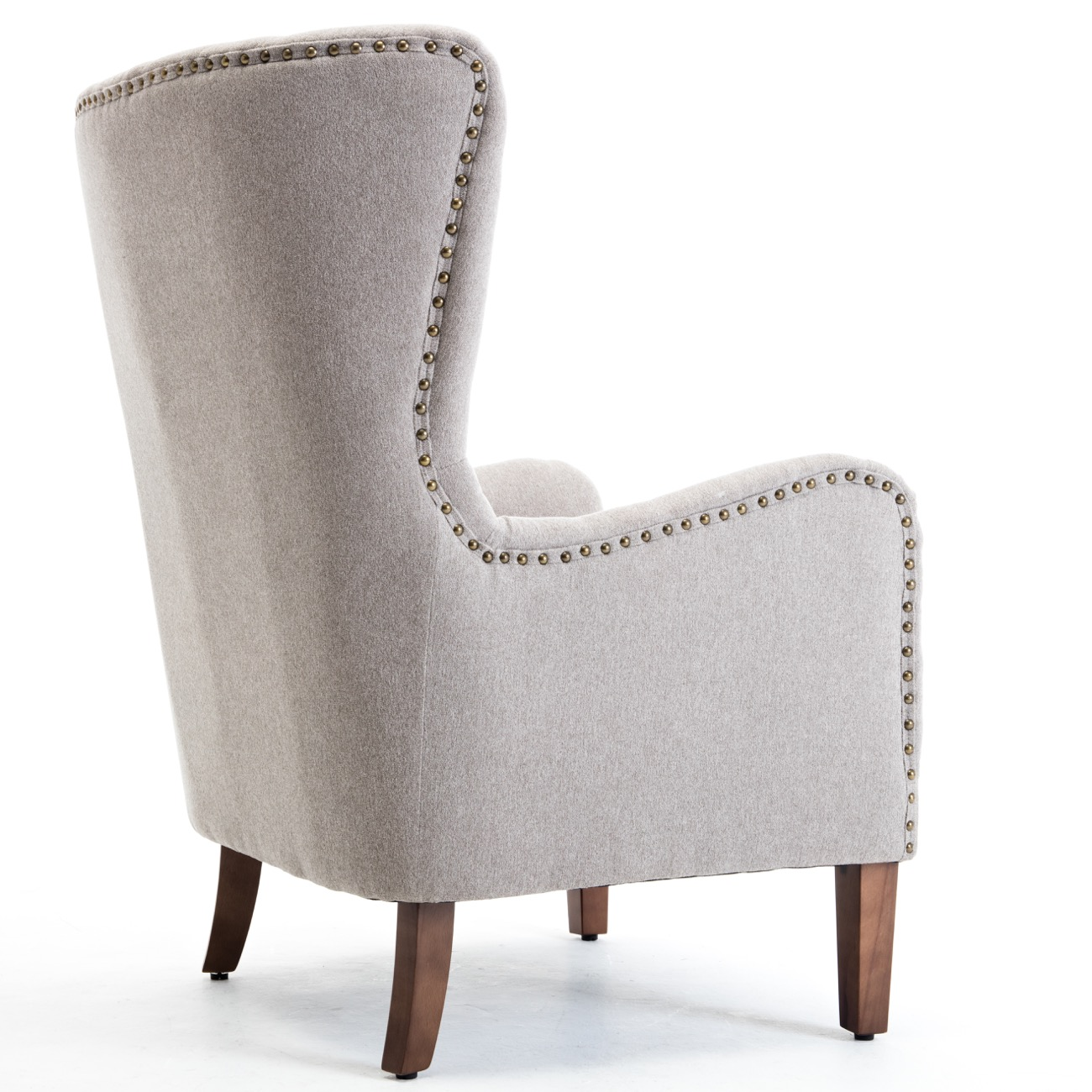 Details About Mid Century Wingback Chair Accent Curved High Back Arm Nail Head Wood Legs Gray