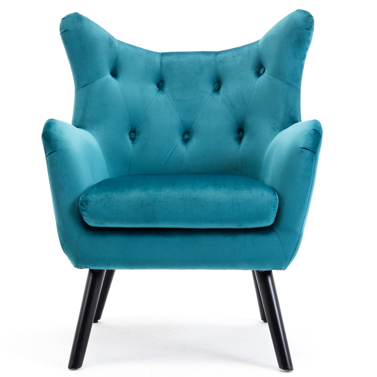 Details About Accent Chair Seat Dining Wing Back Tufted Living Room Club  Arm Furniture, Teal