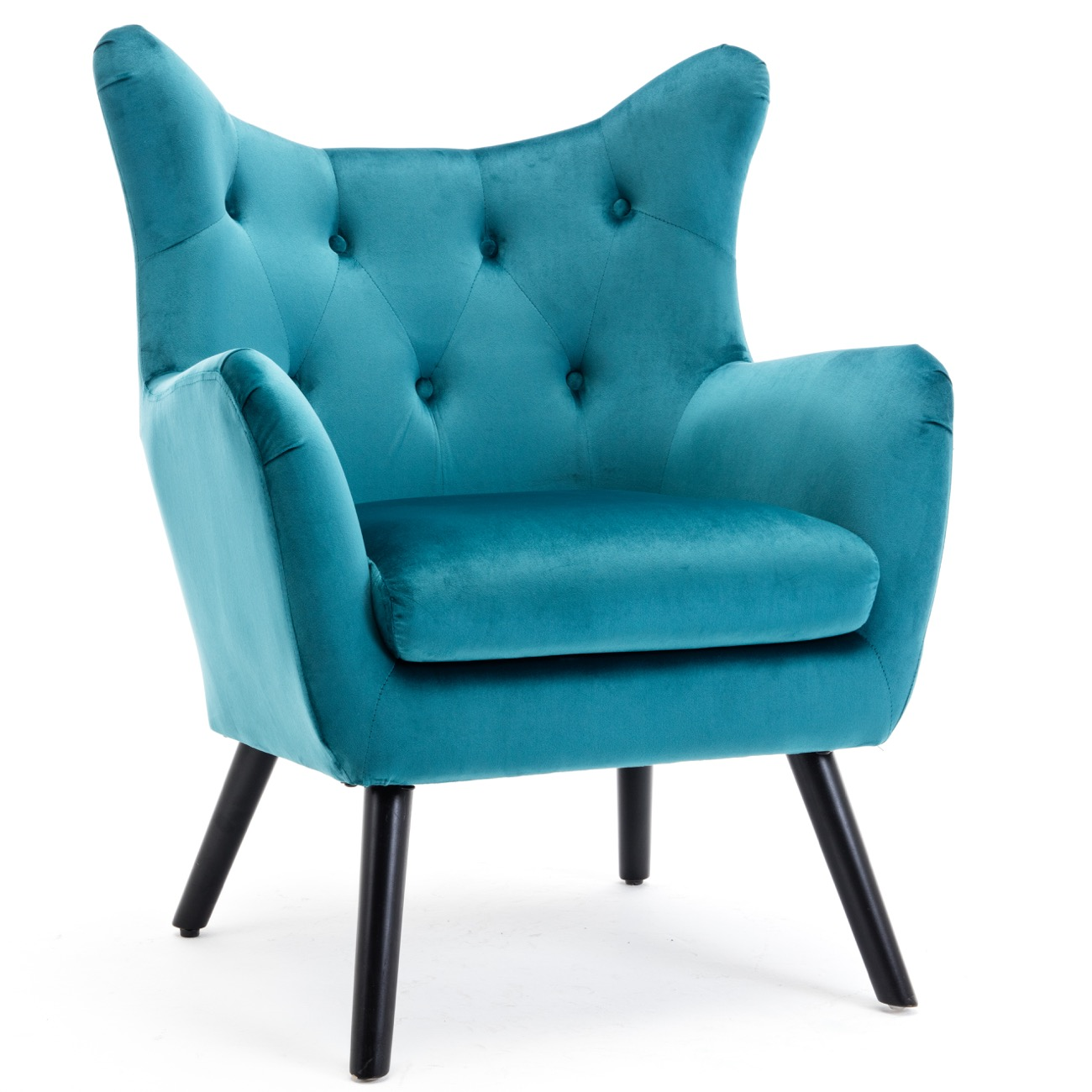 Details About Accent Chair Upholstered Seat Dining Arm Wing Back Living Room Furniture Teal