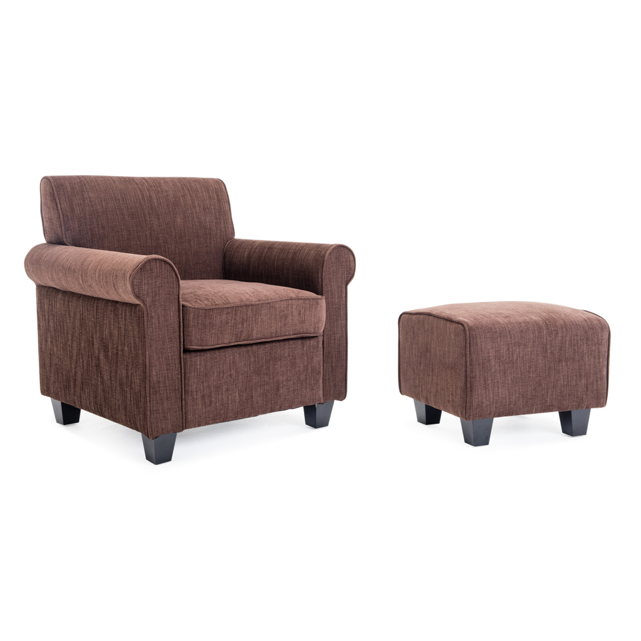 Audrey Accented Retro Chair Ottoman Upholstered Foam Cushions Wood Legs  Brown