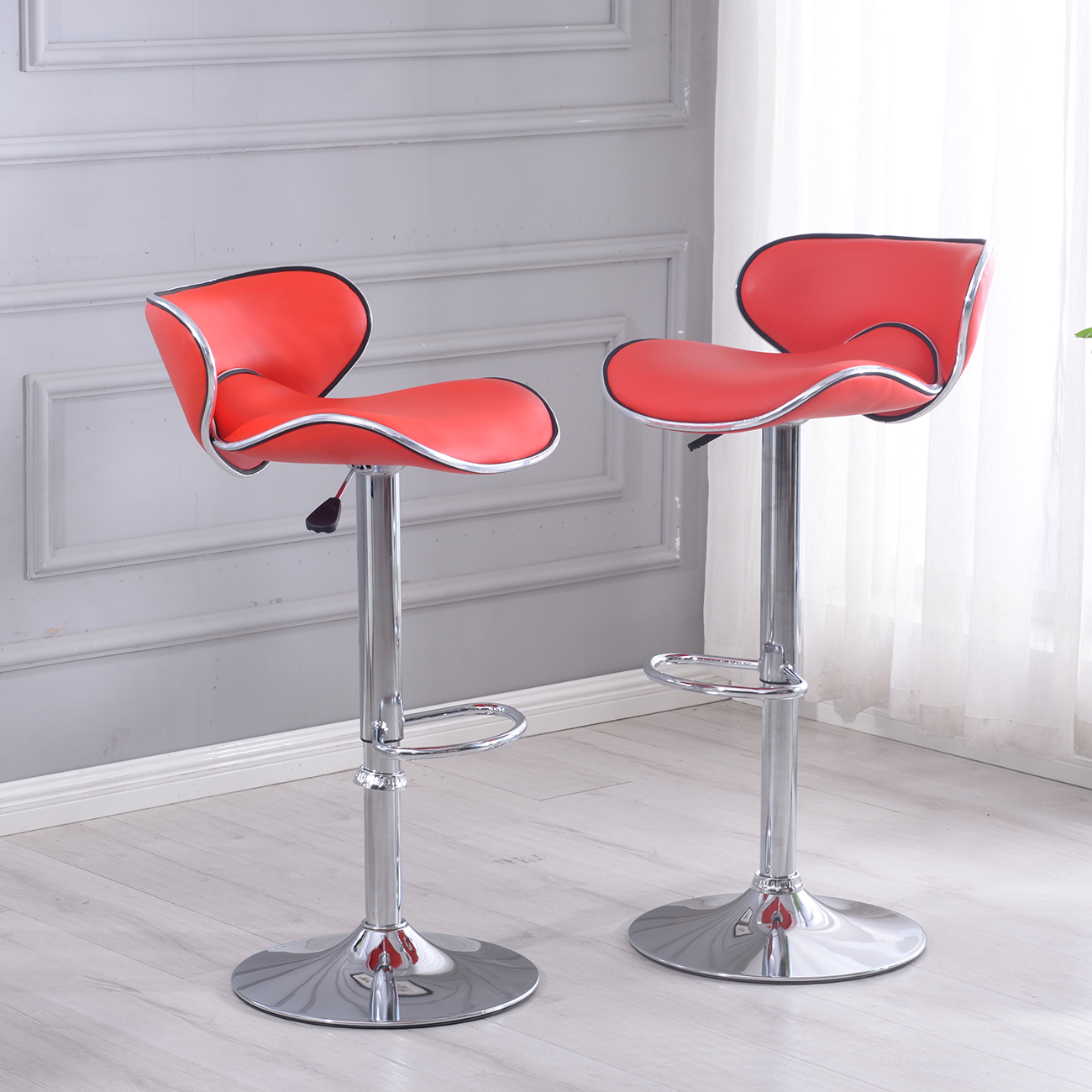 new set of 2 bar stools leather hydraulic swivel dinning chair barstools pub ebay. Black Bedroom Furniture Sets. Home Design Ideas