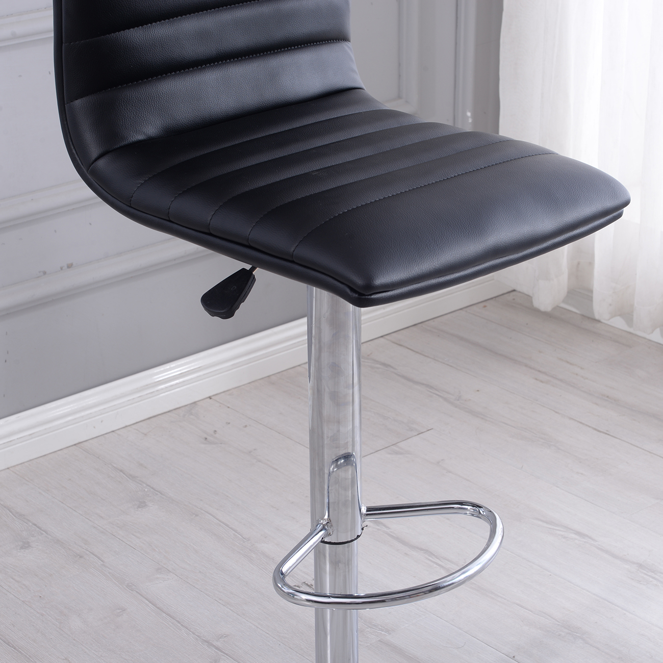 Modern Set Of 2 Bar Stools Leather Adjustable