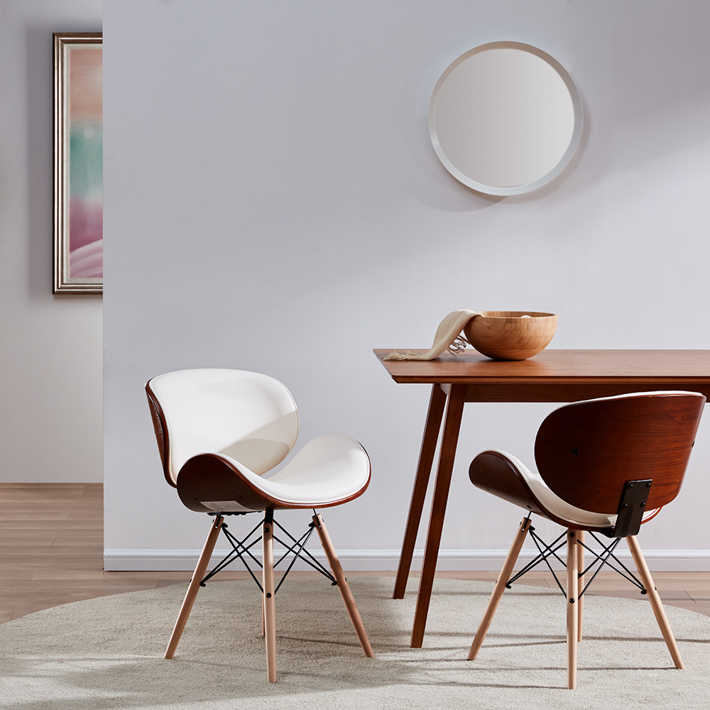 Details about Mid-Century Modern Upholstered Leather Walnut Finish Dining  Accent Chair, White