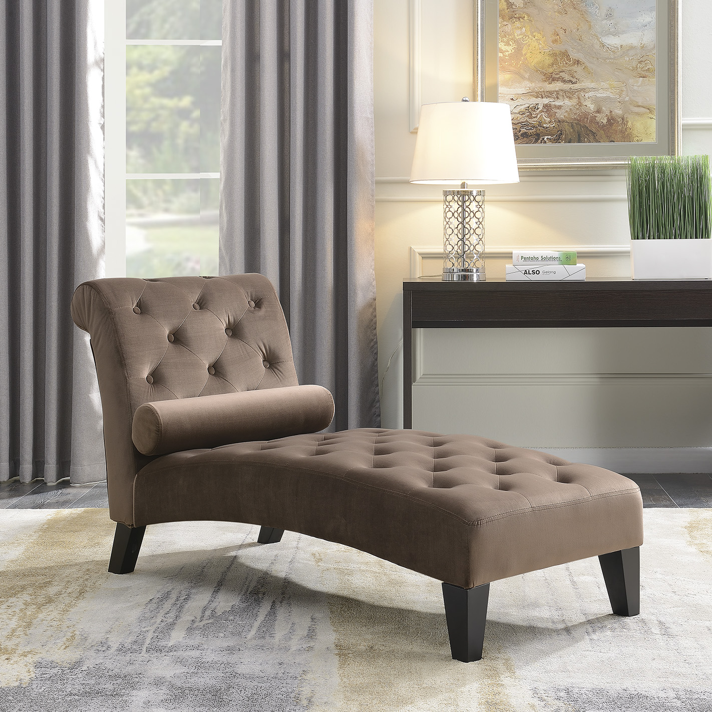 Details About Chaise Lounge Leisure Chair Rest Sofa Home Living Room Lumber Pillow Brown