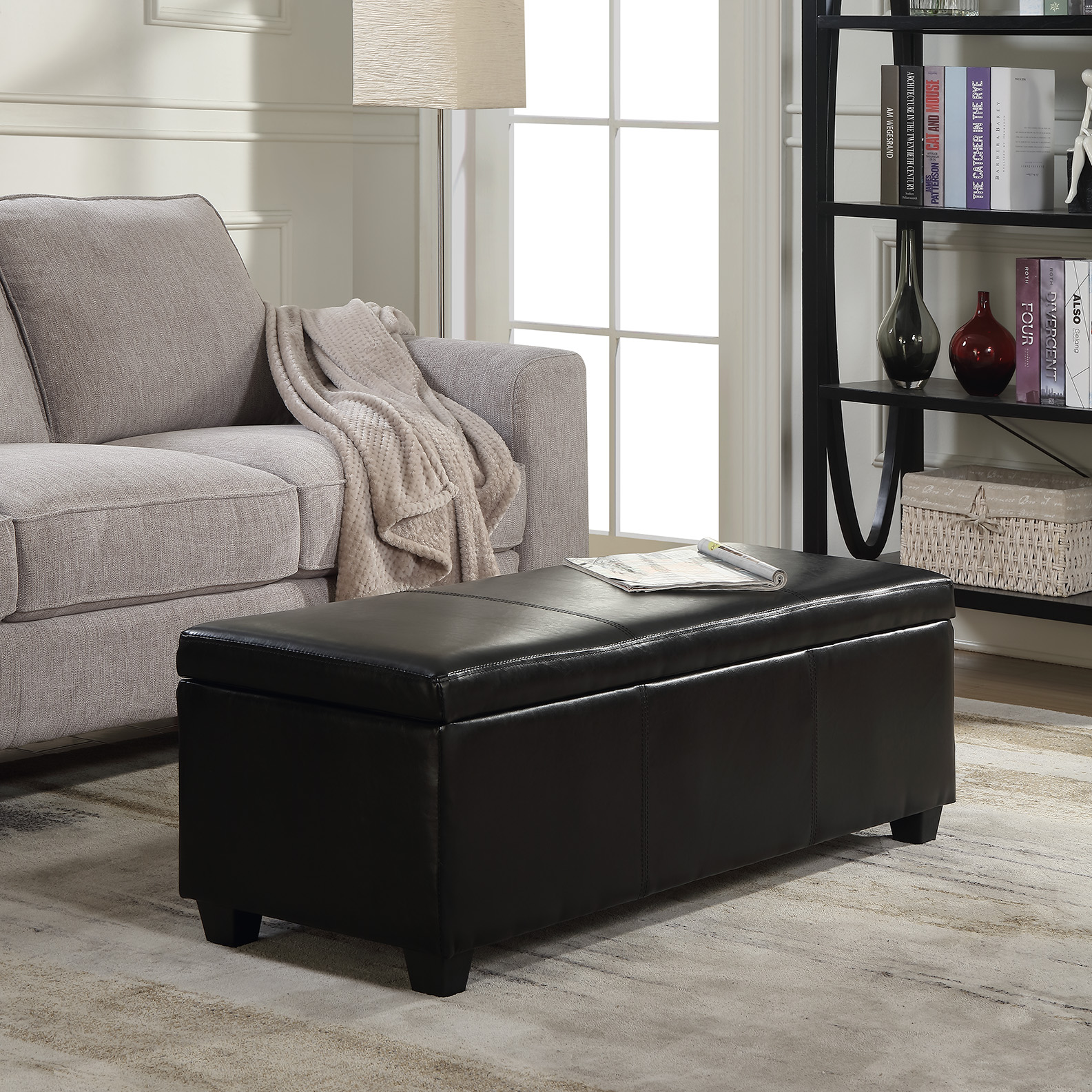 topped features tables table ottoman bench brownleatherottomantable leather top this coffee tray with brown storage center cushion for triple flippable