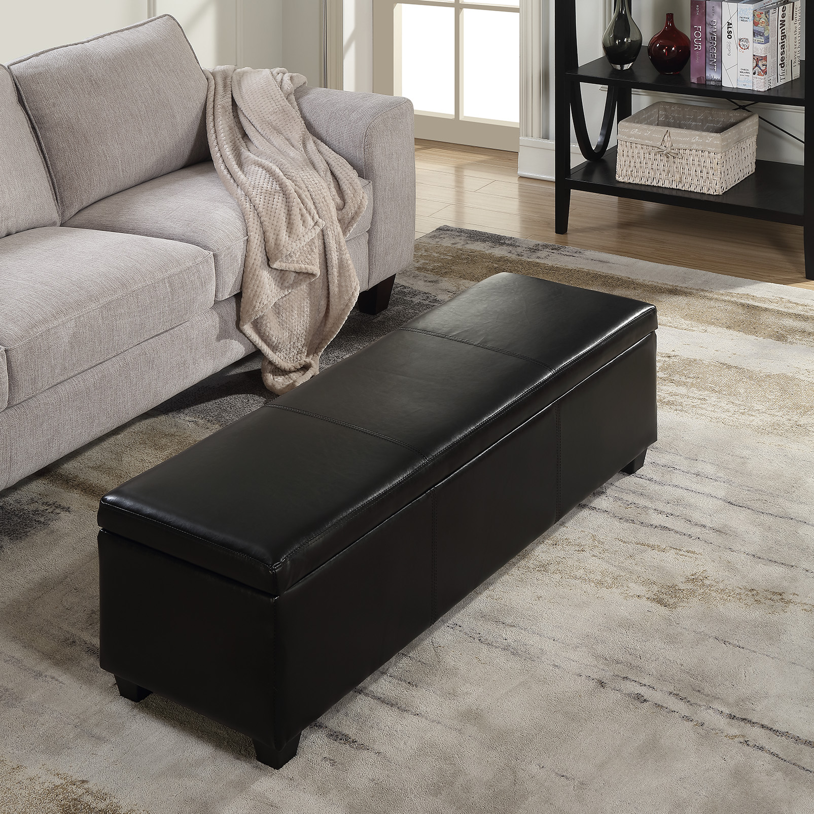 Black Faux Leather Storage Foot Rest Sofa Ottoman Bench
