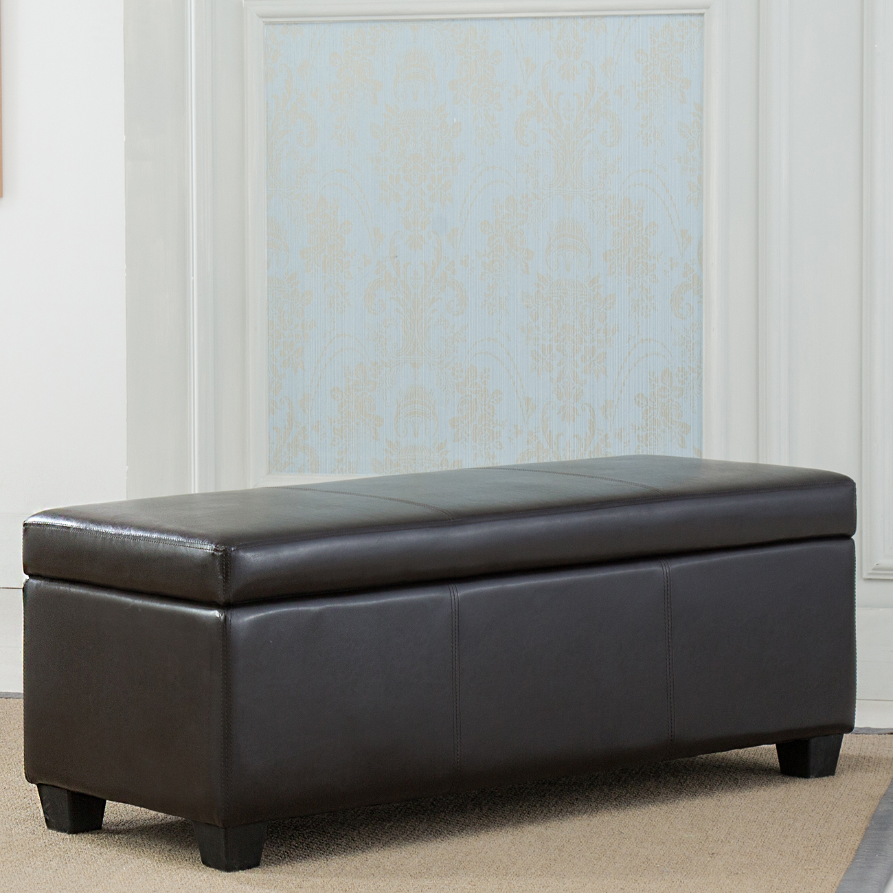 Bedroom Chairs And Ottomans: Contemporary Modern Faux Leather Bedroom Rectangular