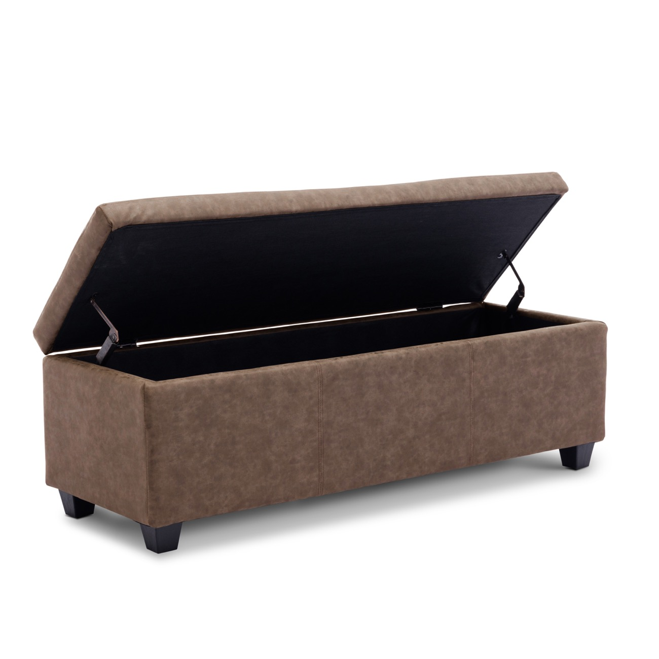 48 Quot Elegant Faux Leather Solid Rectangular Storage Ottoman