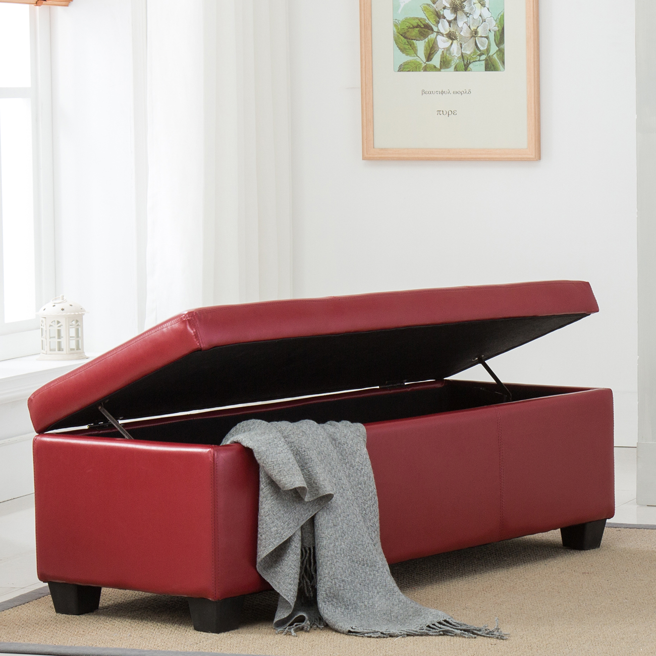 Modern Storage Ottoman Accent Bench Stool Footrest Contemporary Furniture Red Ebay