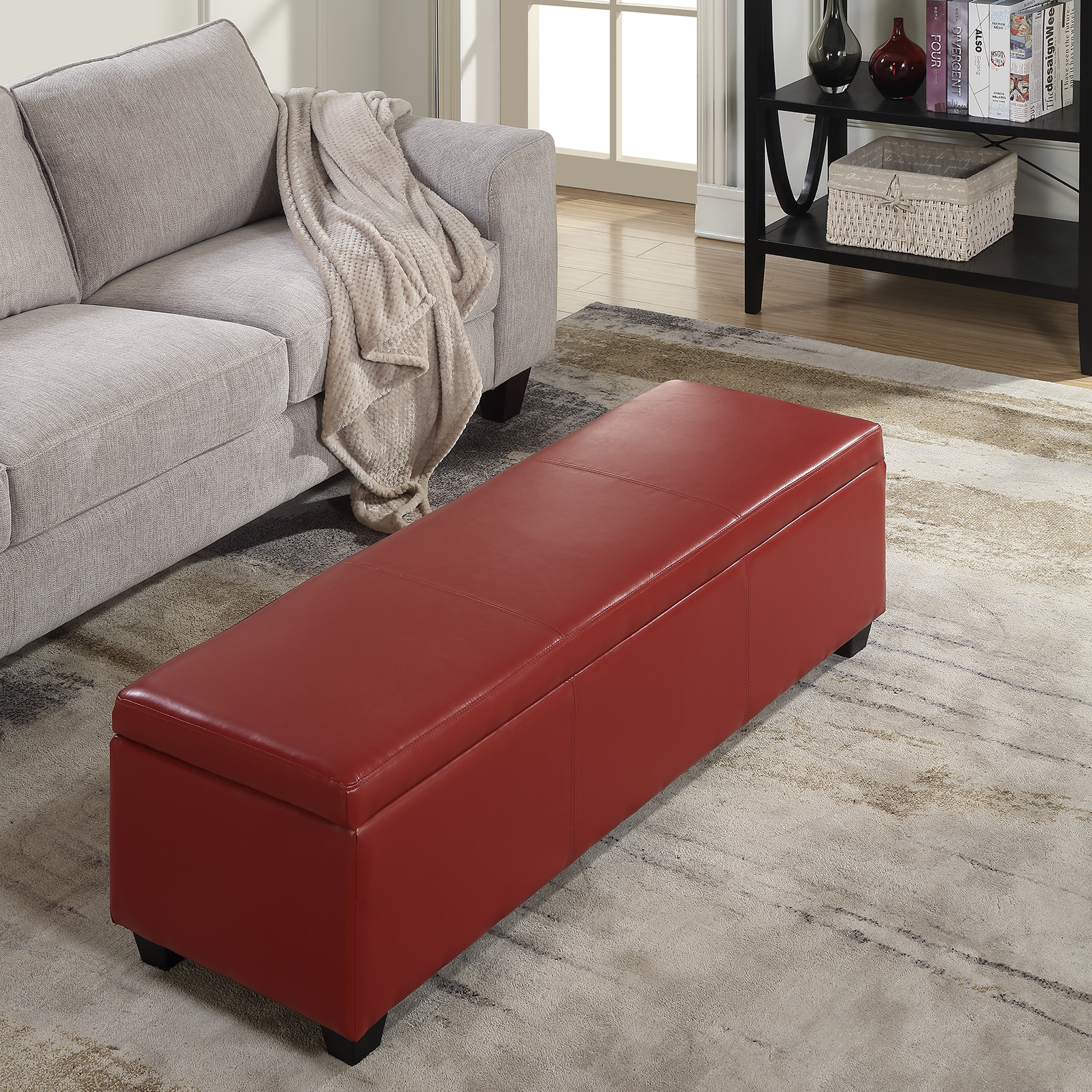 Marvelous Details About 48 Inch Deluxe Bedroom Rectangular Faux Leather Storage Ottoman Bench Large Red Pdpeps Interior Chair Design Pdpepsorg