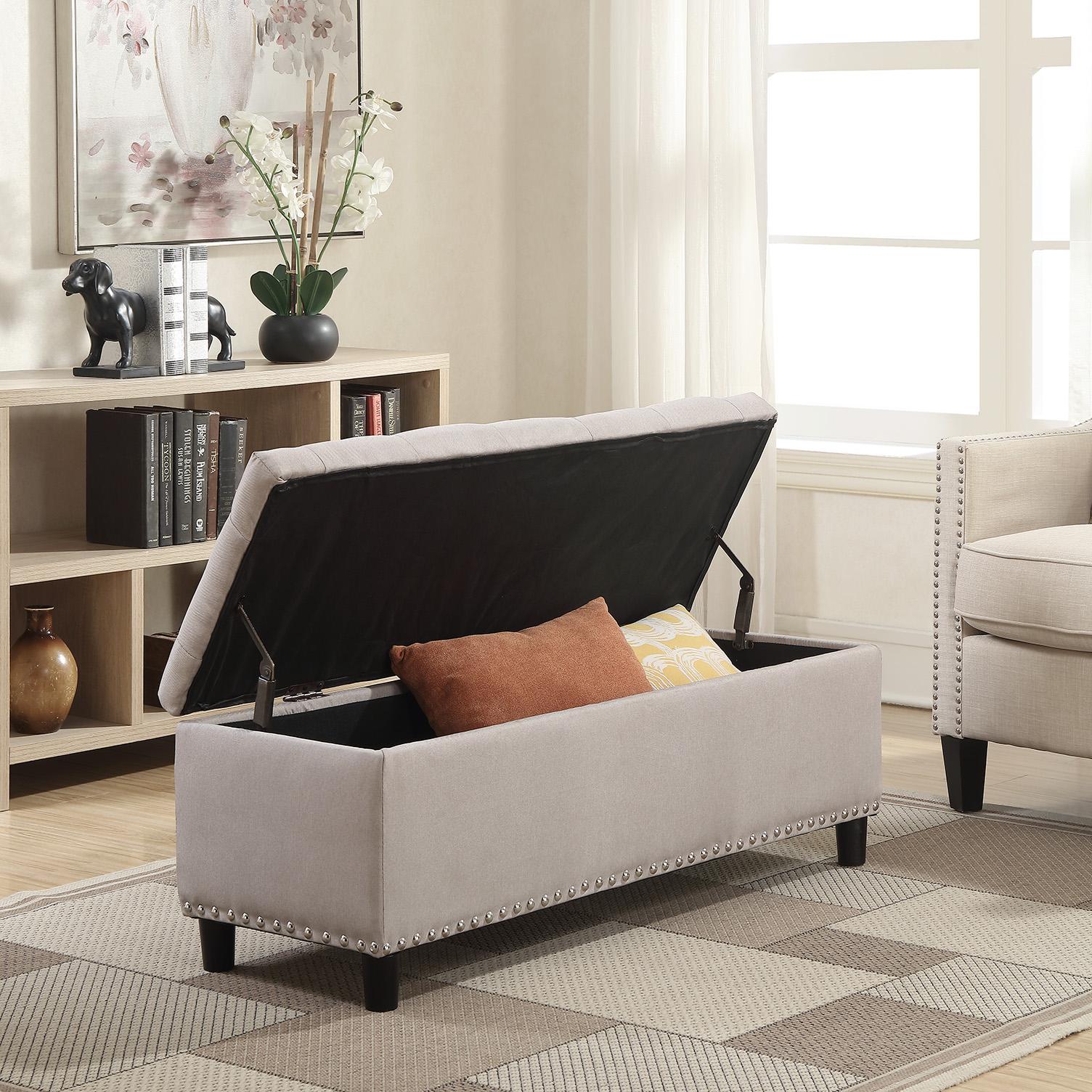 48-034-Faux-Leather-Linen-Storage-Ottoman-Footrest-Bench-Lift-Top thumbnail 16