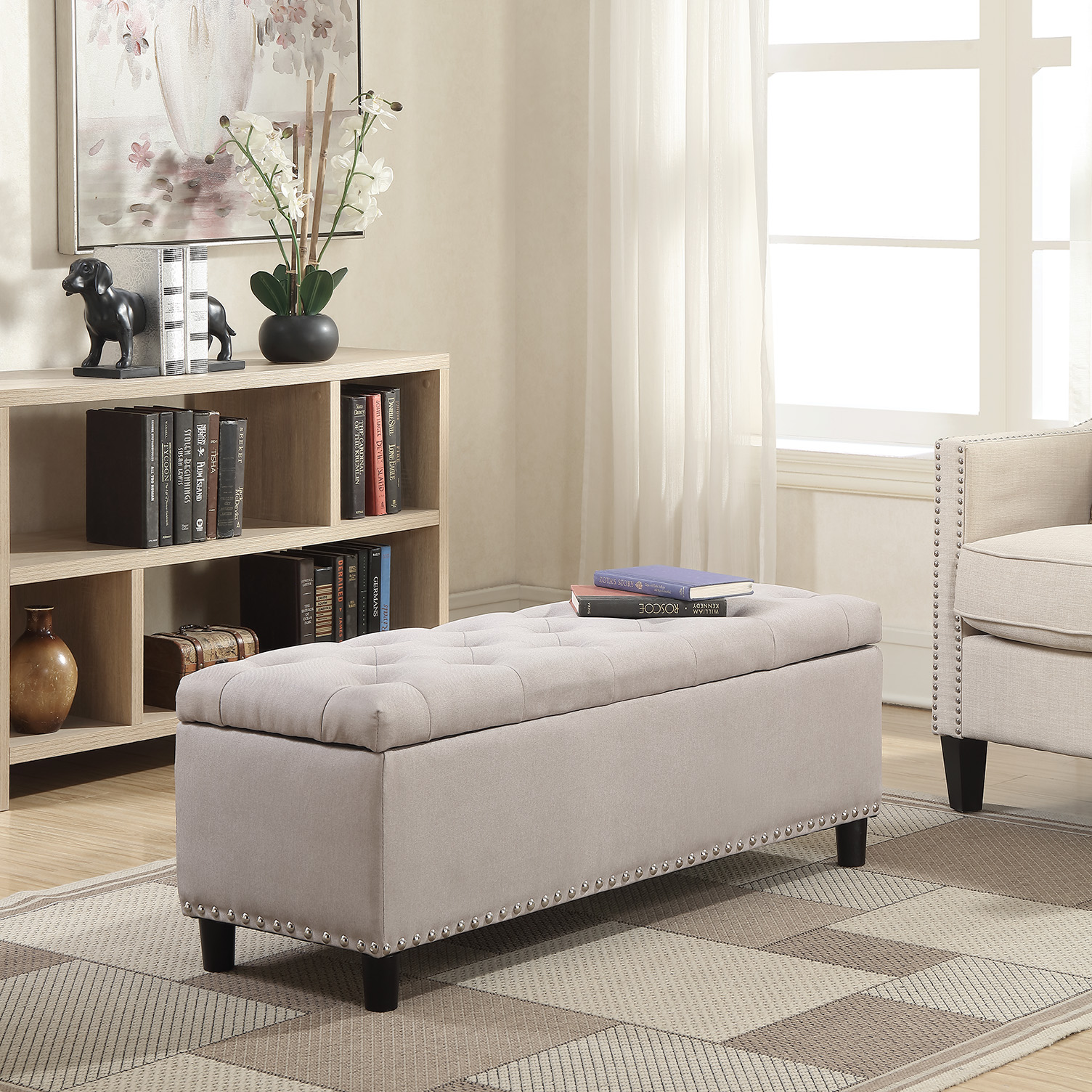 Strange Details About New 48 Rectangular Storage Ottoman Bench Linen Tufted Natural Footrest Lift Top Caraccident5 Cool Chair Designs And Ideas Caraccident5Info