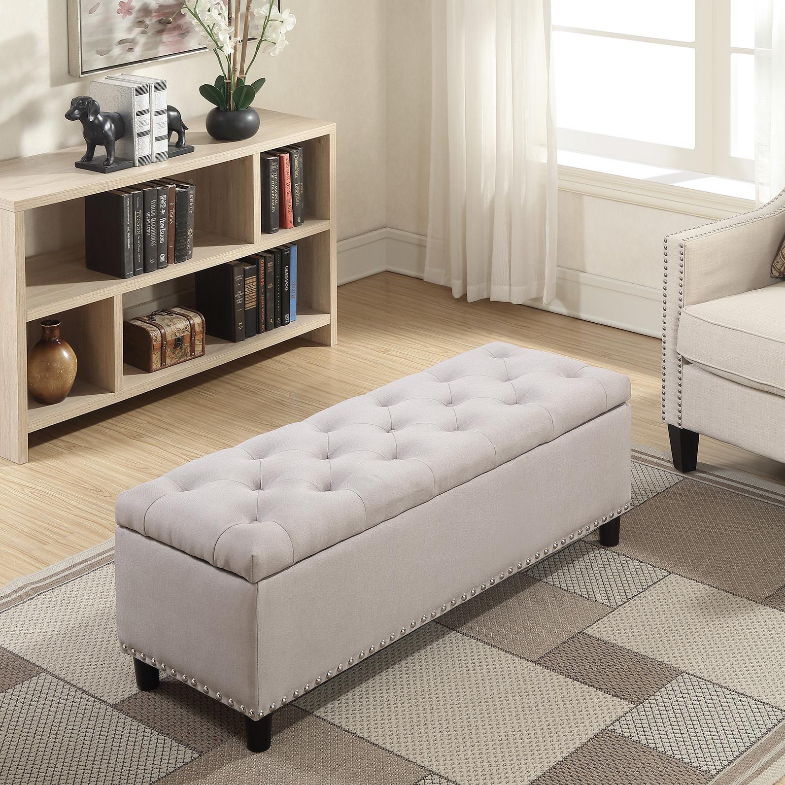 48-034-Faux-Leather-Linen-Storage-Ottoman-Footrest-Bench-Lift-Top thumbnail 17