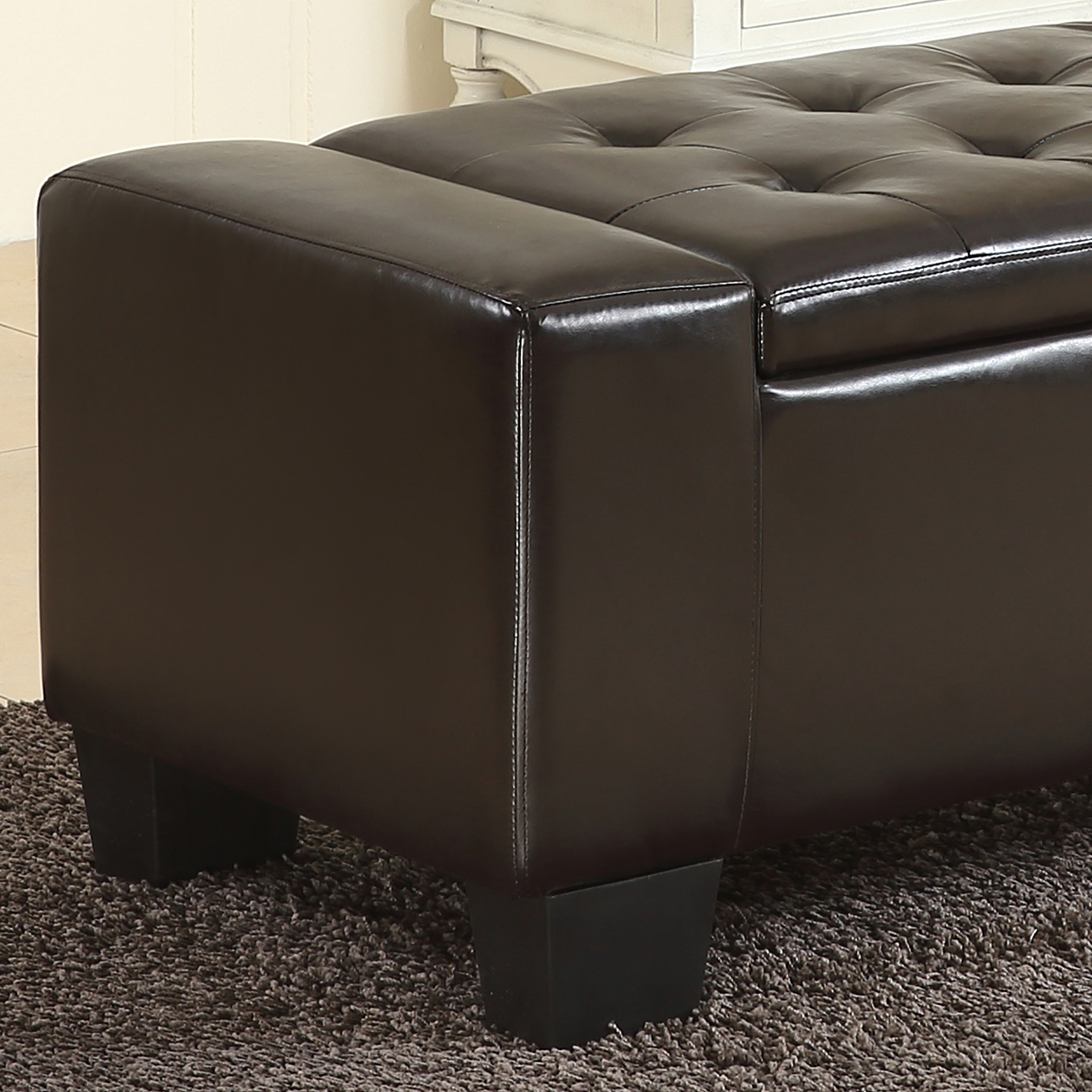 51 Elegant Faux Leather Solid Rectangular Storage Ottoman Bench