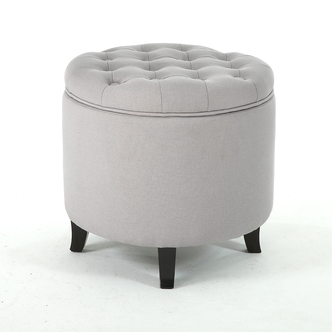 classic storage ottoman seat nailhead trim large round tufted table tray gray 846183165095 ebay. Black Bedroom Furniture Sets. Home Design Ideas