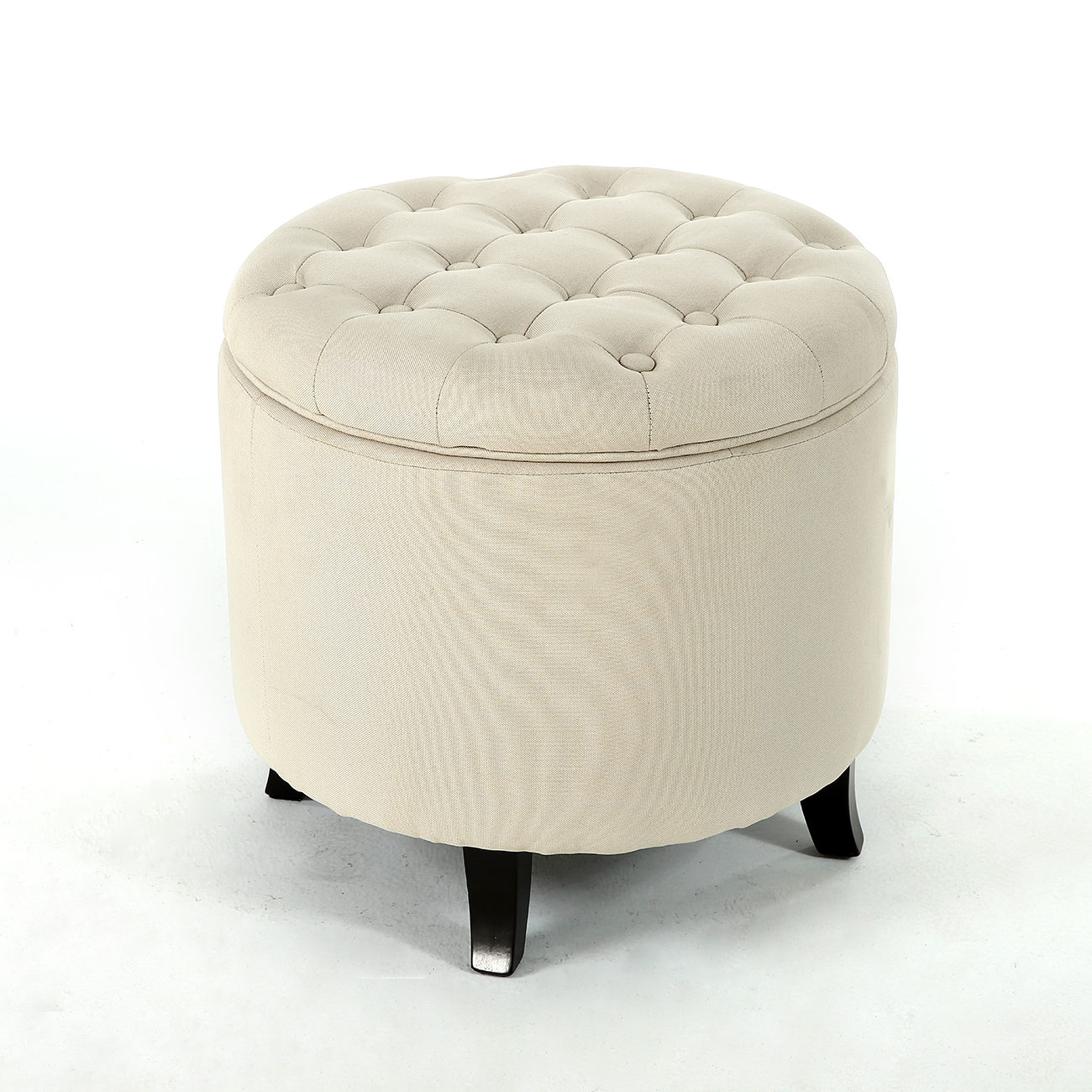 round storage ottoman beige upholstered button tufted foot stool seat top lift ebay. Black Bedroom Furniture Sets. Home Design Ideas