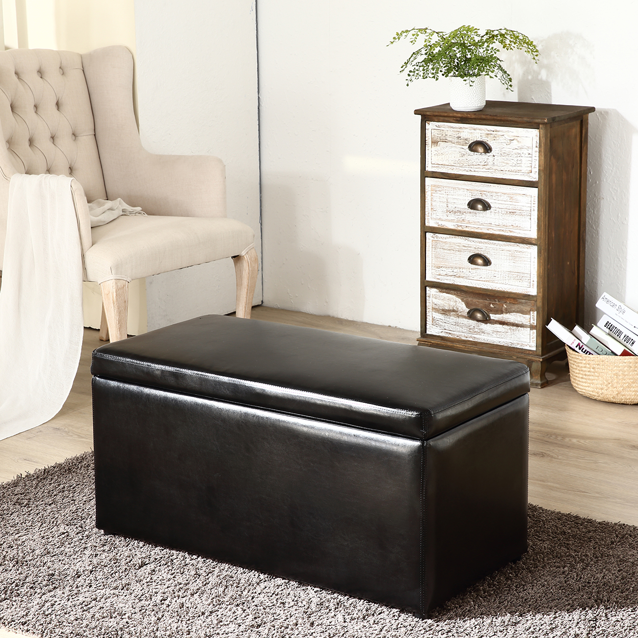 3pc Contemporary Brown Black Cream Leather Tray Top Nested