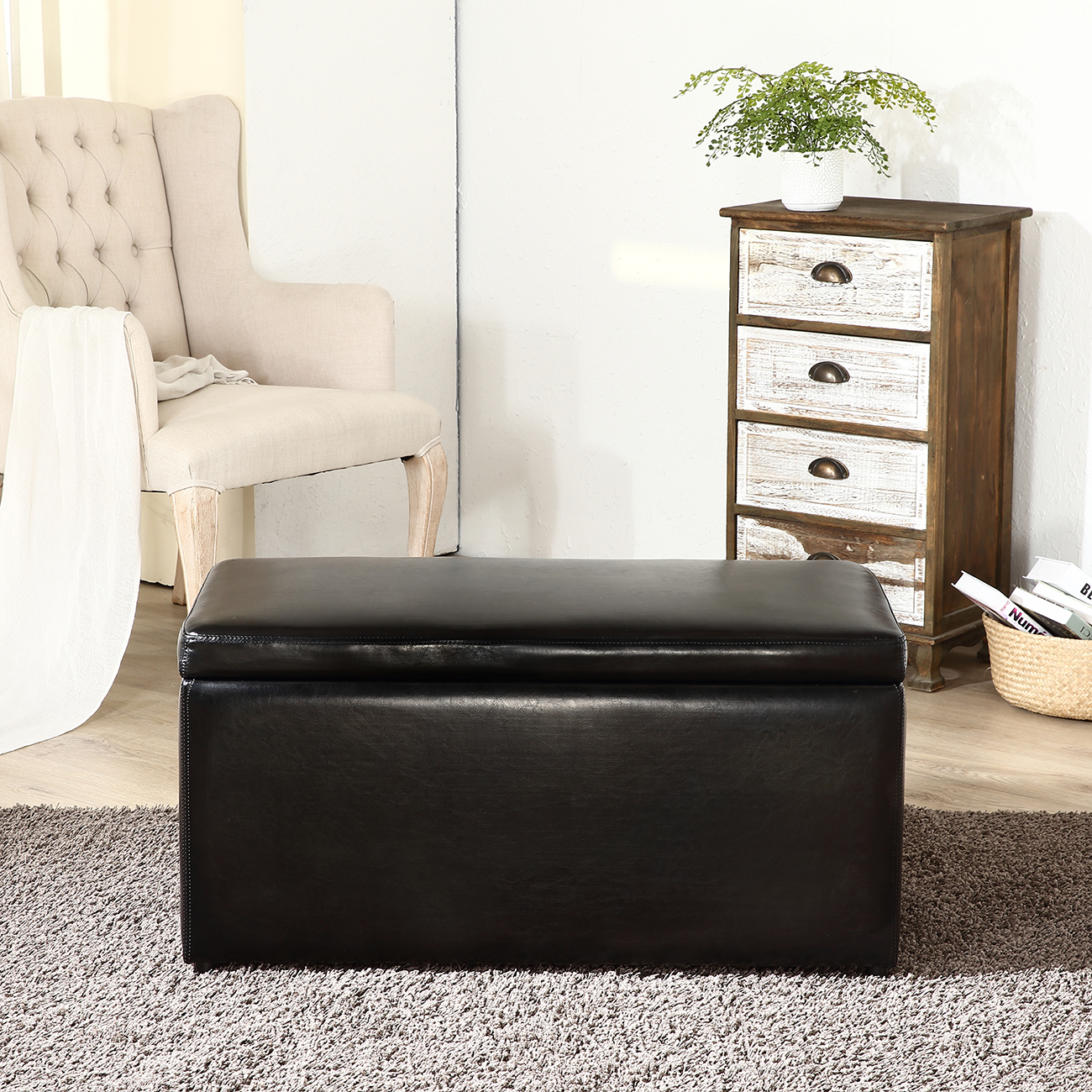 3PC Contemporary Brown Black Cream Leather Tray Top Nested Storage ...