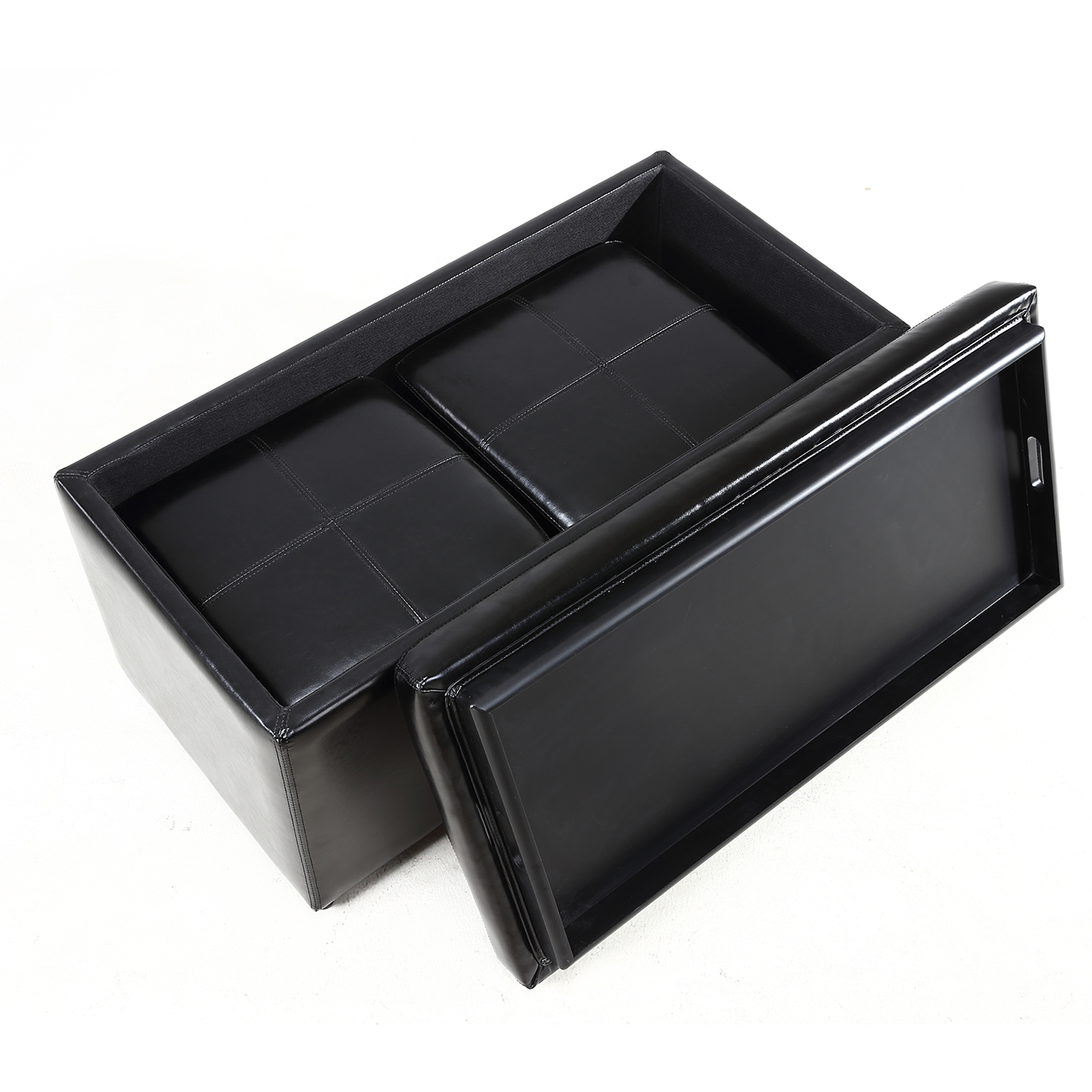 014 hg 31905 bk 5 Leather Coffee Table With Storage And Trays