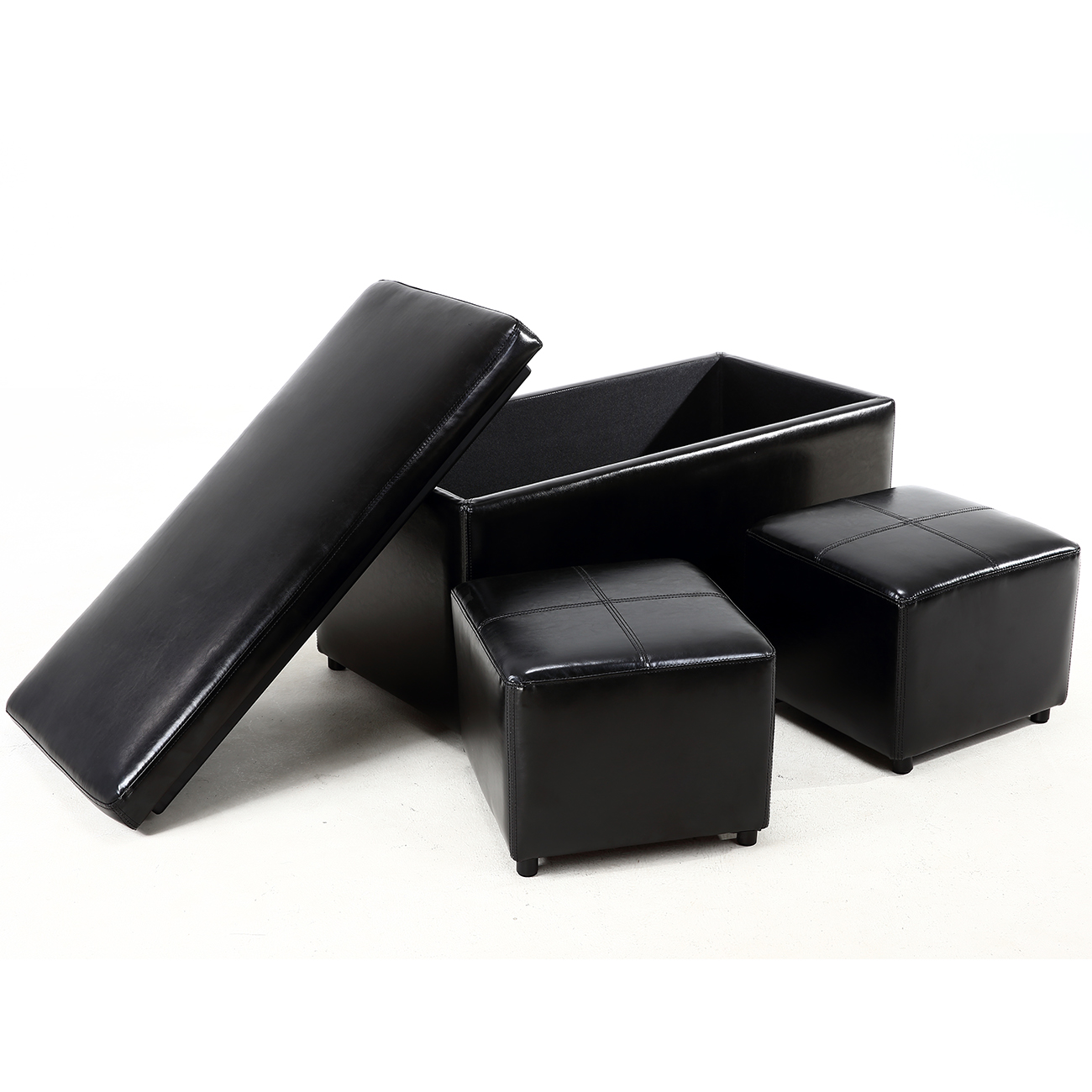 Footstool Coffee Table Tray: 3PC Ottoman Bench Storage Lid Tray Footrest Coffee Table