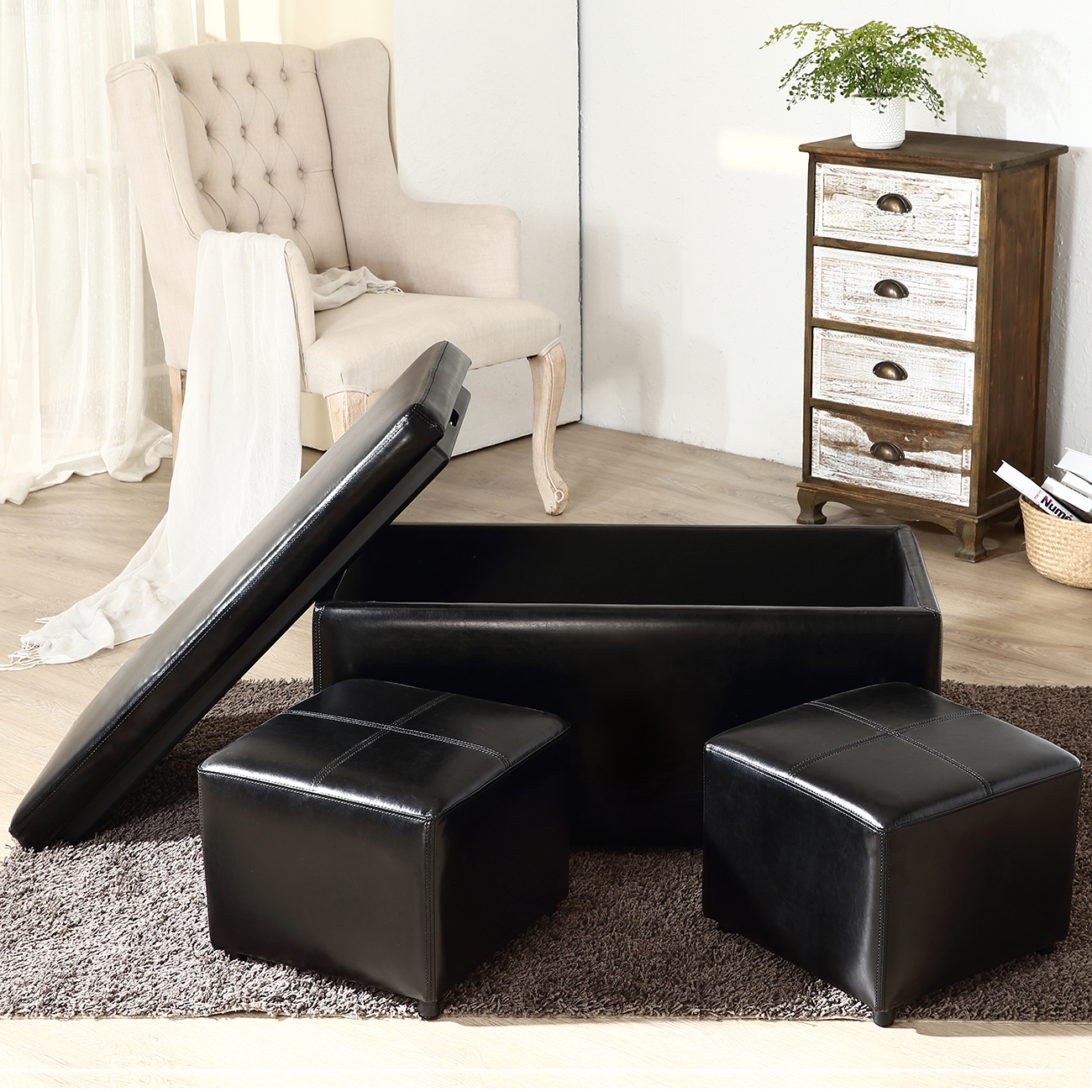 High Quality 3PC Ottoman Bench Storage Lid Tray Footrest Coffee