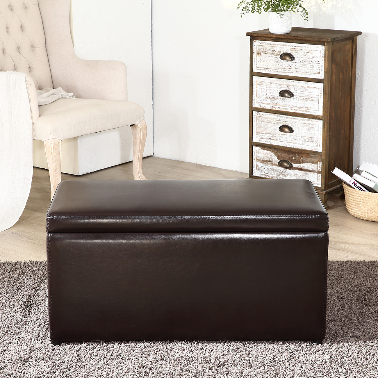 3PC Ottoman Bench Storage Lid Tray Footrest Coffee Table
