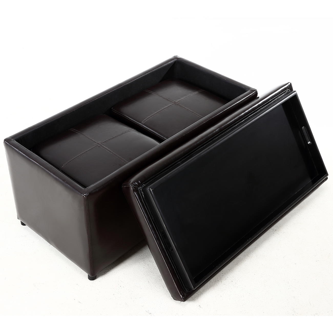 Contemporary Brown 3 Piece Leather Tray Top Nested Storage