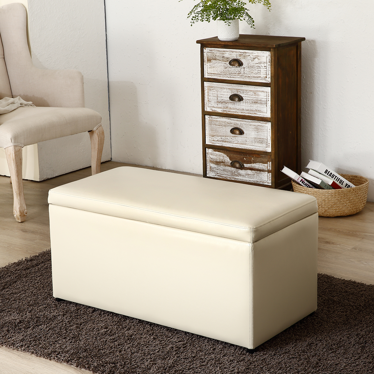 3 Piece Ottoman Bench Cube Storage Box Lounge Seat Footstools With Lid Cream