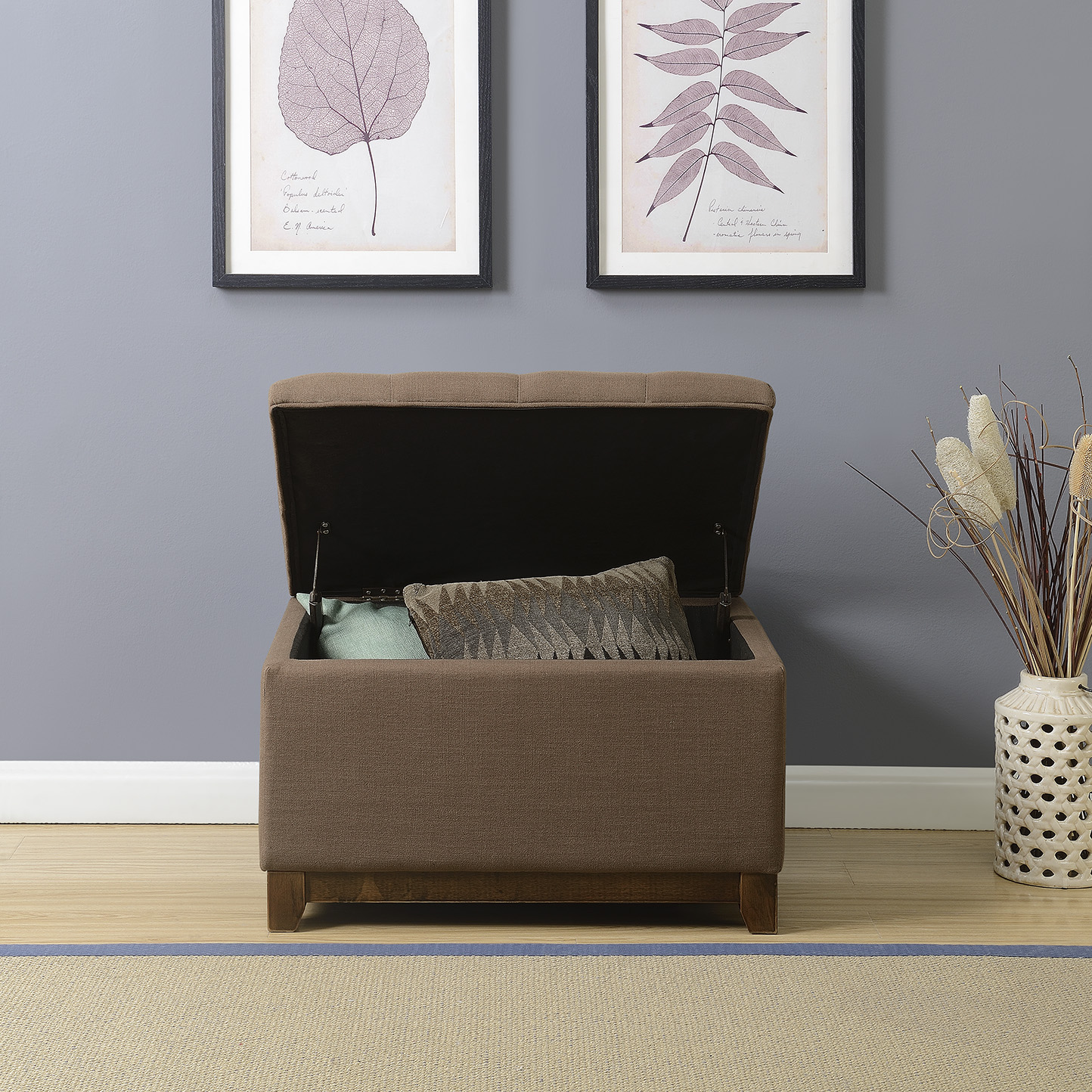 thumbnail 7 - Large Storage Ottoman Stool Bench Seat Linen Tufted, (Brown, Gray and Navy)