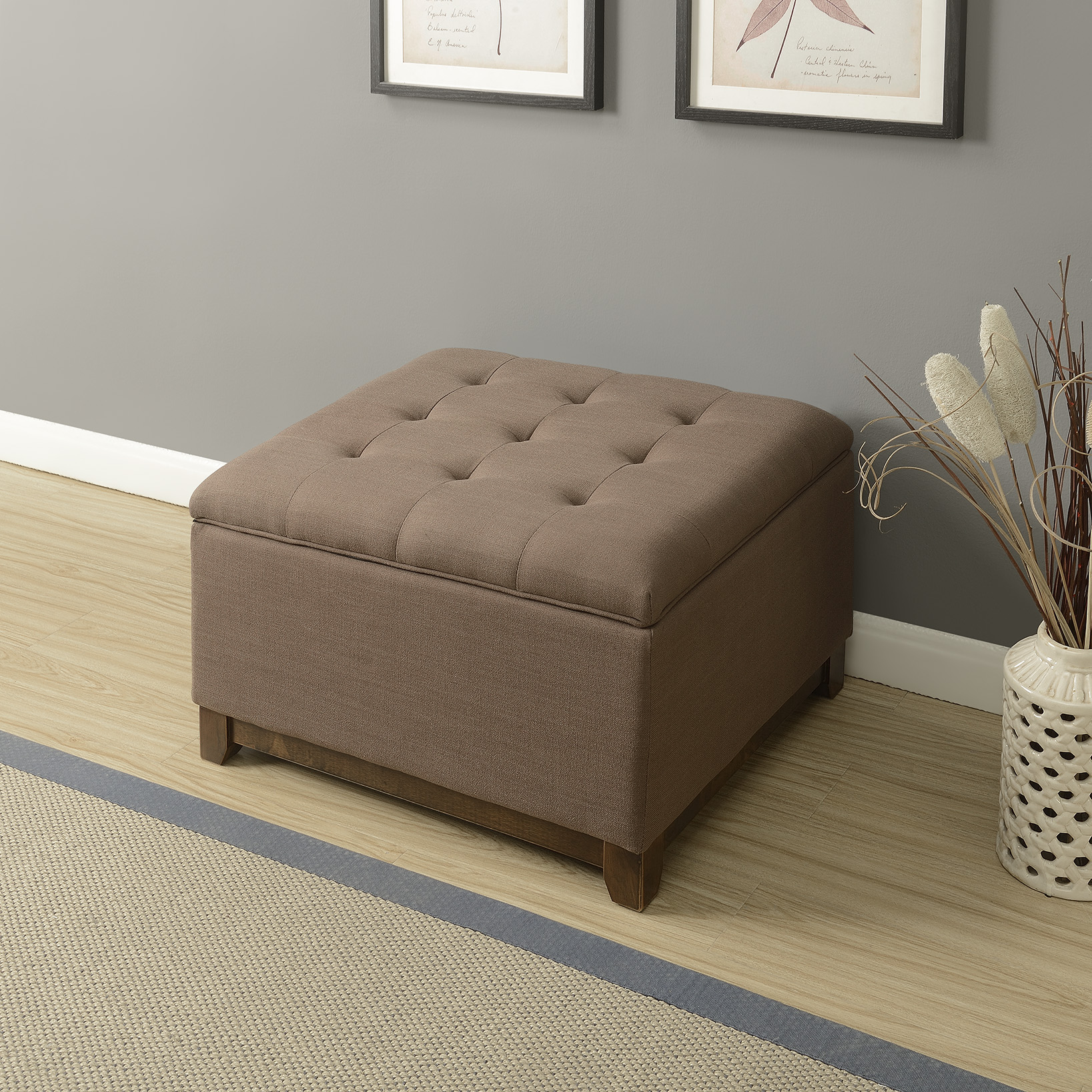 thumbnail 8 - Large Storage Ottoman Stool Bench Seat Linen Tufted, (Brown, Gray and Navy)