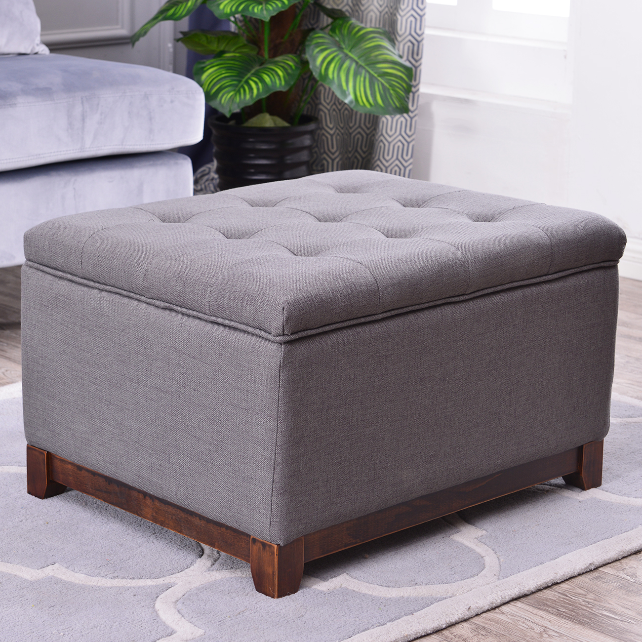 Large Storage Ottoman Stool Bench Seat Linen Tufted