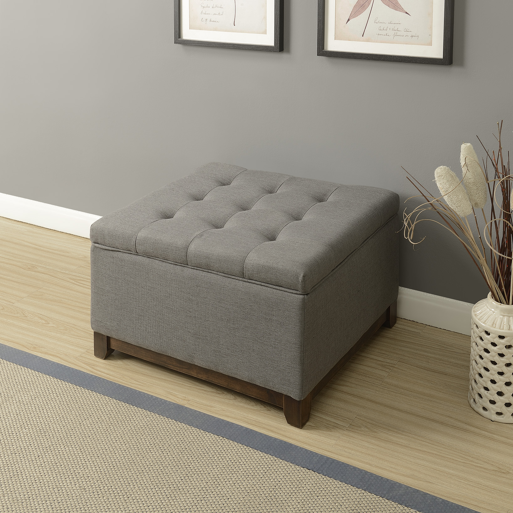 thumbnail 12 - Large Storage Ottoman Stool Bench Seat Linen Tufted, (Brown, Gray and Navy)