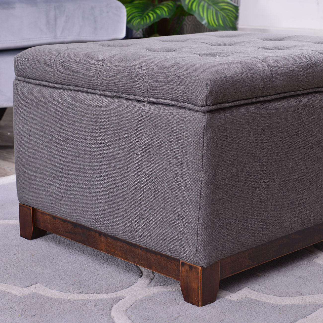 large storage ottoman stool bench seat linen tufted brown gray and navy ebay. Black Bedroom Furniture Sets. Home Design Ideas