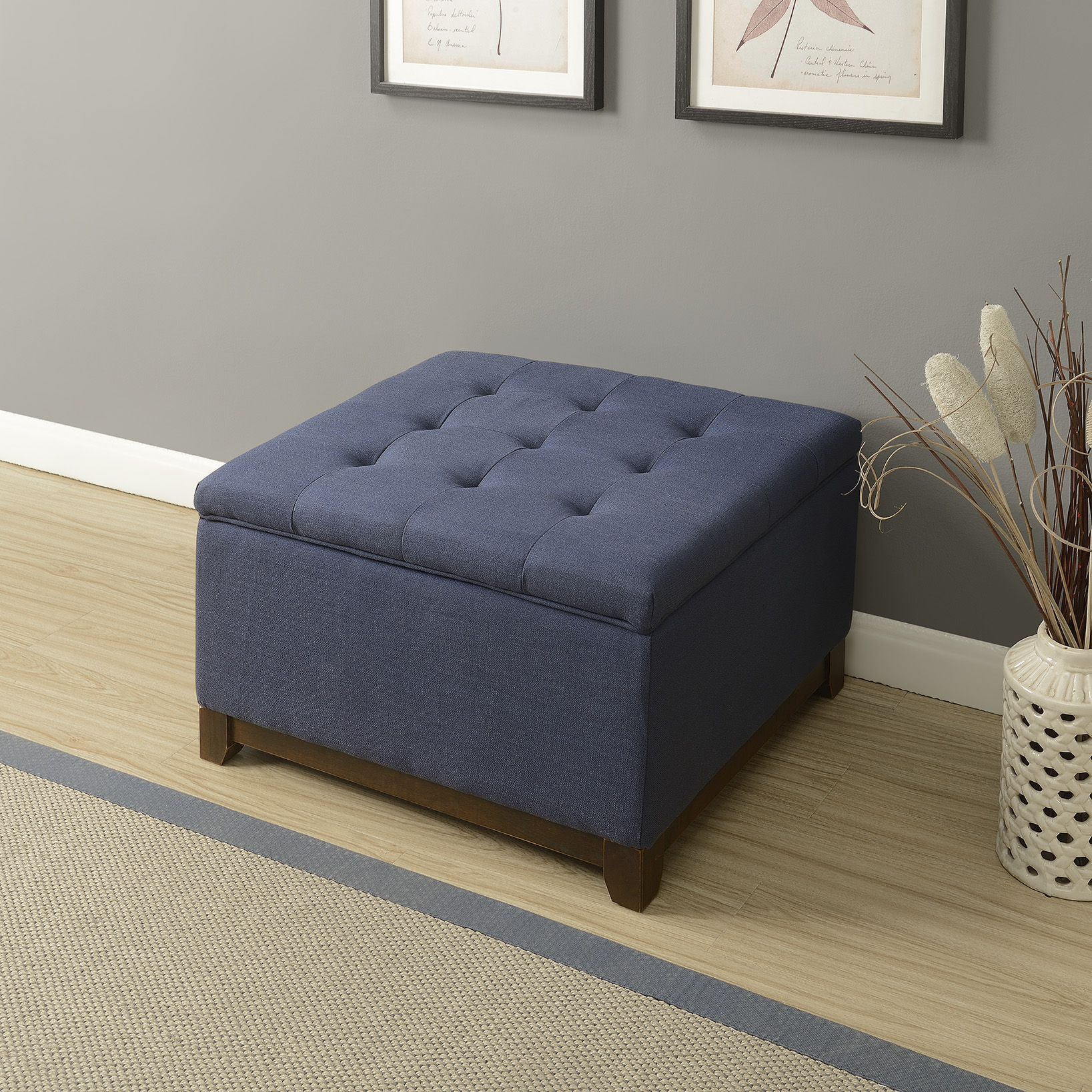 thumbnail 4 - Large Storage Ottoman Stool Bench Seat Linen Tufted, (Brown, Gray and Navy)
