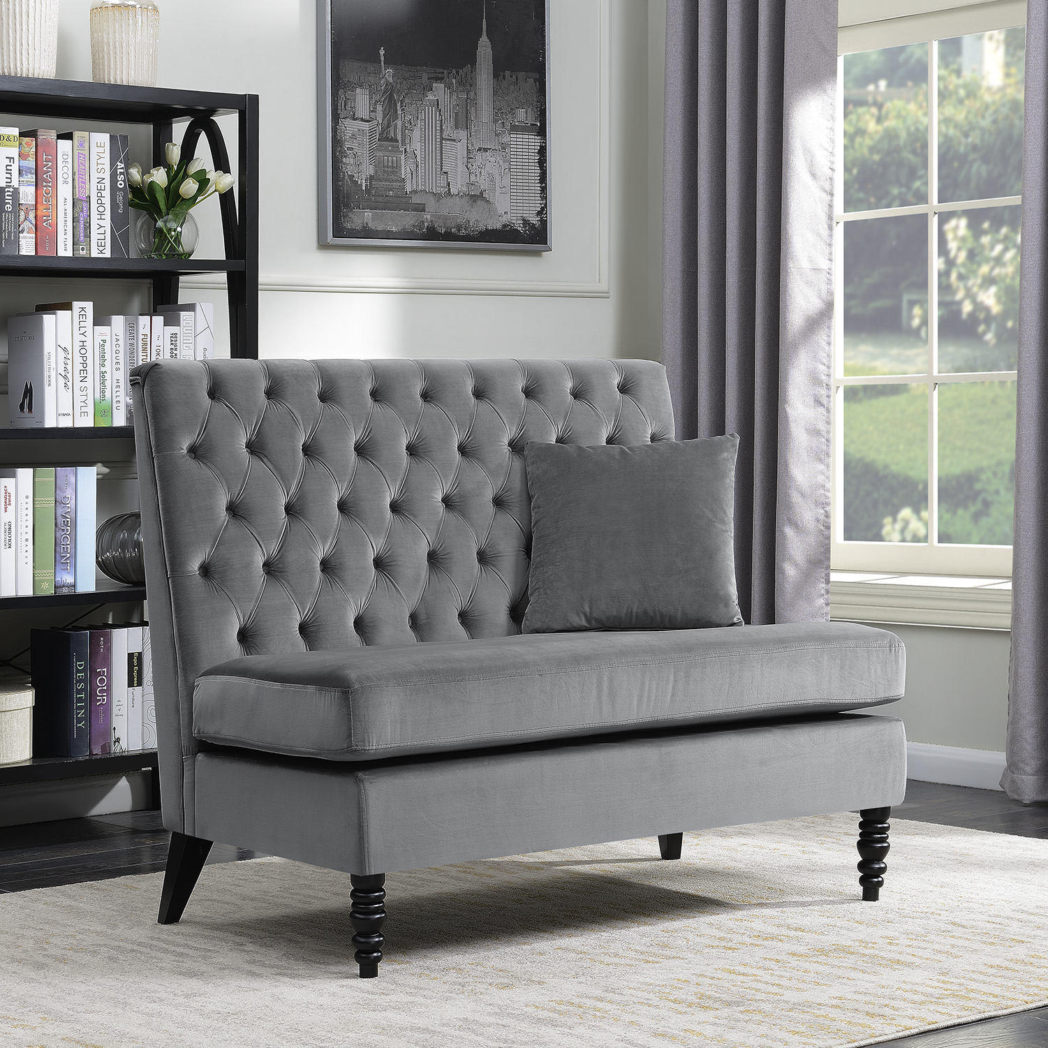 Picture of: New Modern Tufted Settee Bedroom Bench Sofa High Back Cushion Seat Fabric Velvet Ebay