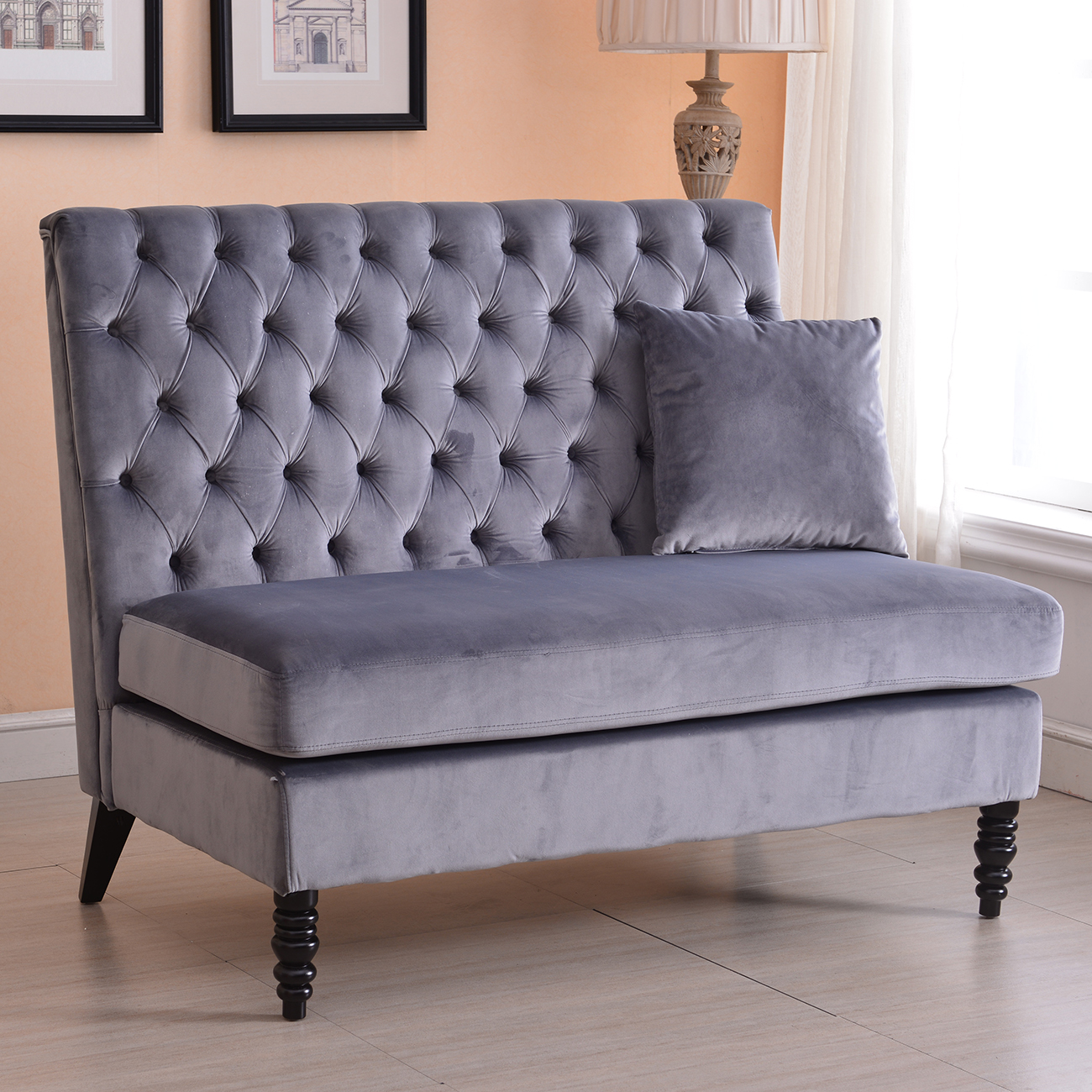 Velvet modern tufted settee bench bedroom sofa high back love seat beige gray ebay Bench sofa