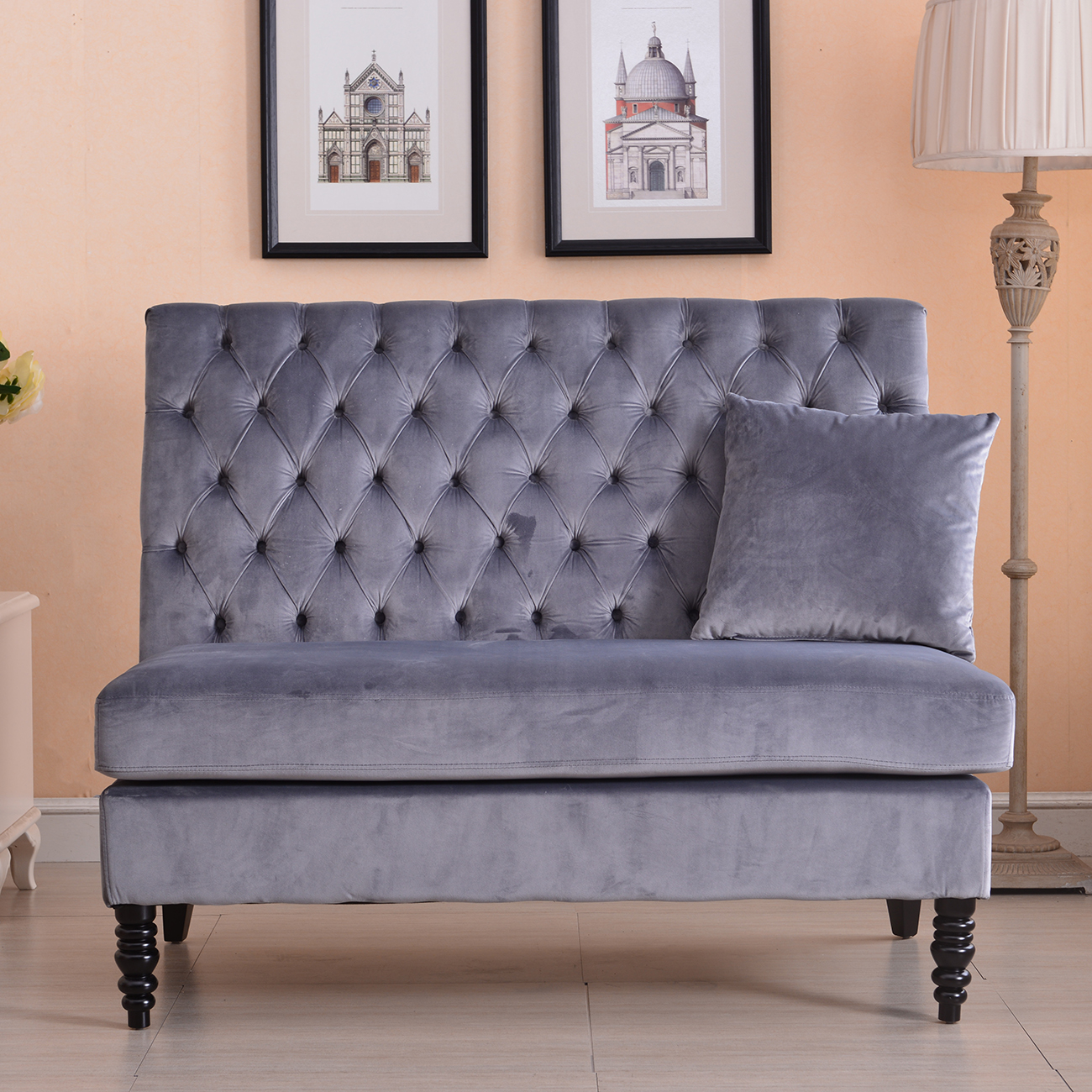 Velvet modern tufted settee bench bedroom sofa high back for Modern loveseat