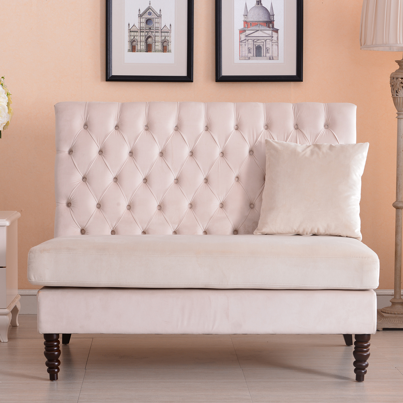 New modern tufted settee bedroom bench sofa high back for Bedroom loveseat