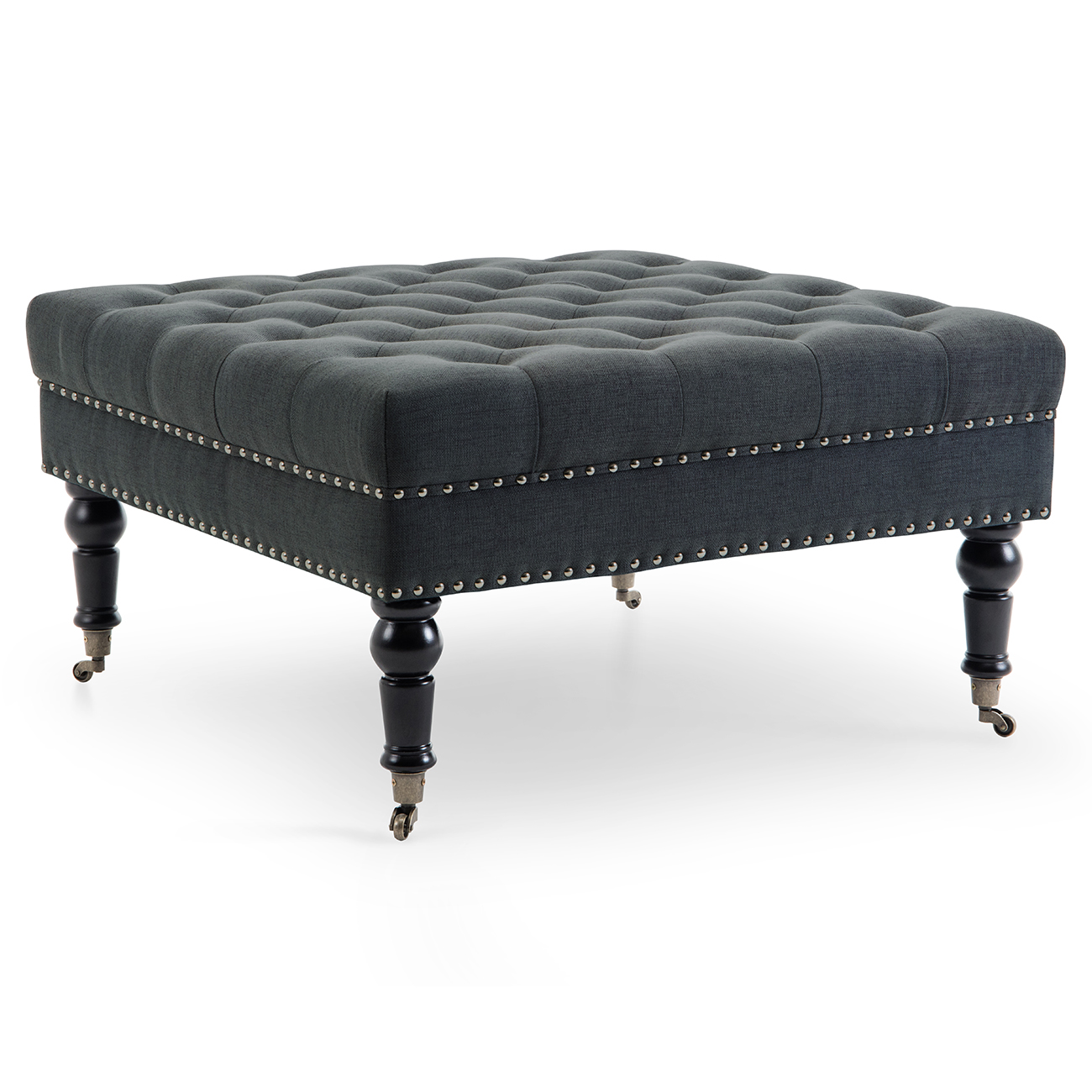 Phenomenal Details About Ottoman Square Bench Tray Button Tufted Nailhead Trim W Rolling Wheels Gmtry Best Dining Table And Chair Ideas Images Gmtryco