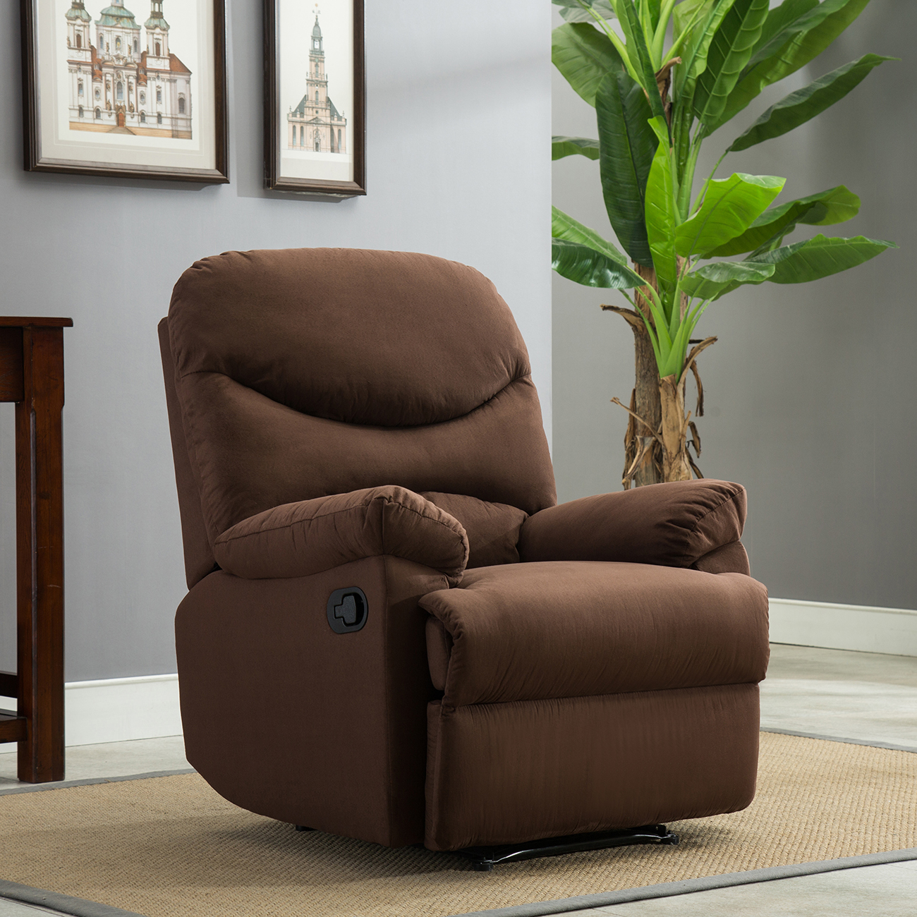 Recliner Chair Sofa Living Room Furniture Microfiber Reclining Padded Seat  Brown Part 81