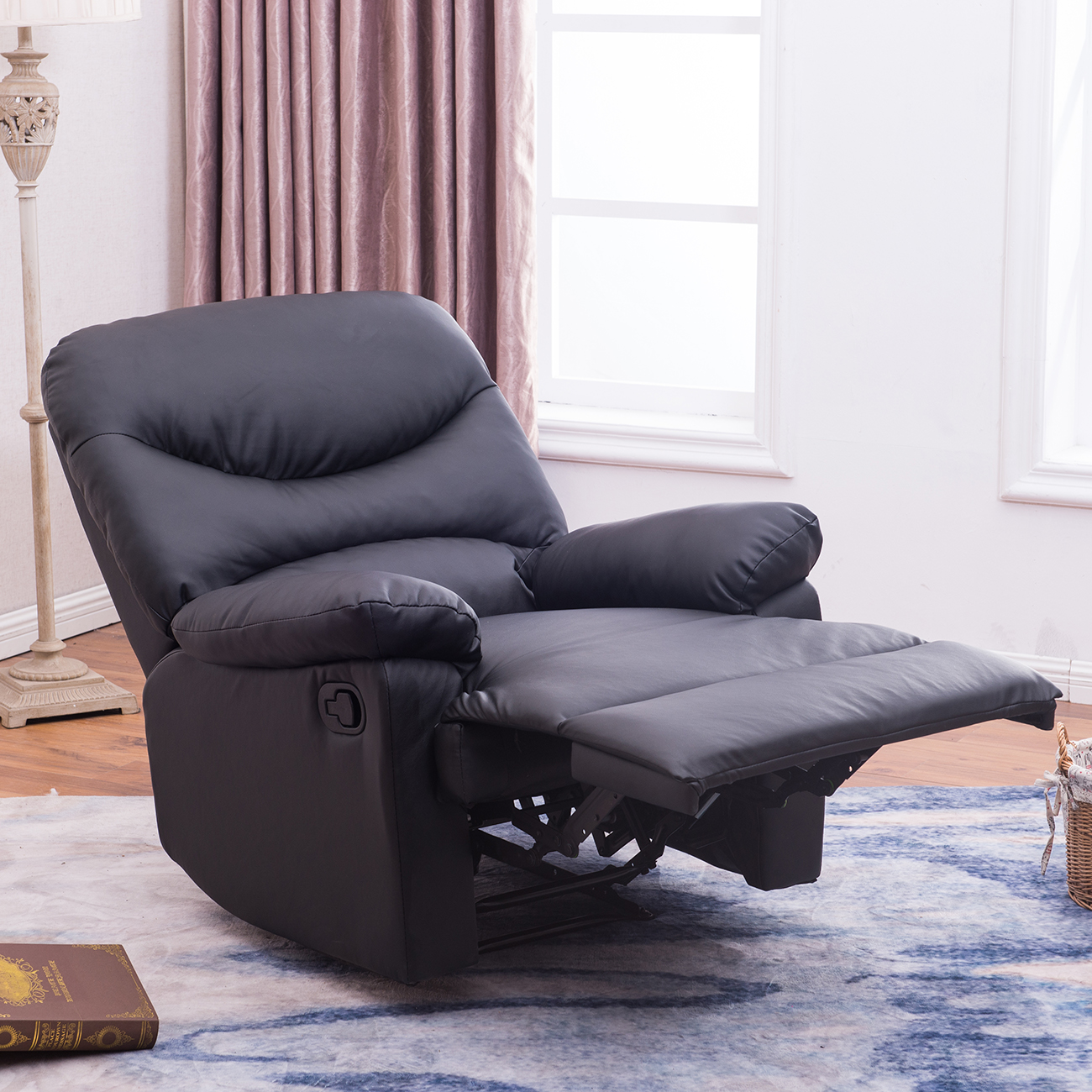 Details About Padded Plush Recliner Living Room Reclining Chair Tv Living Room Black Brown