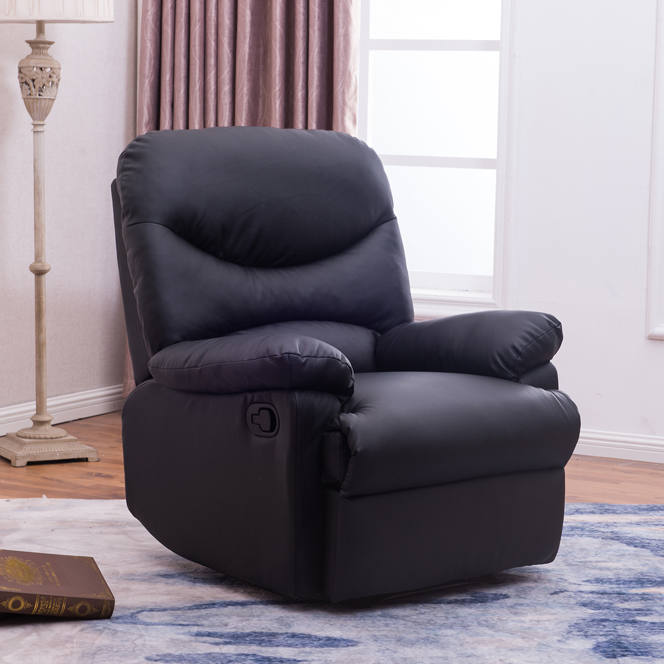 Recliner Black Plush Over Stuffed Bonded Faux Leather Comfy Chair