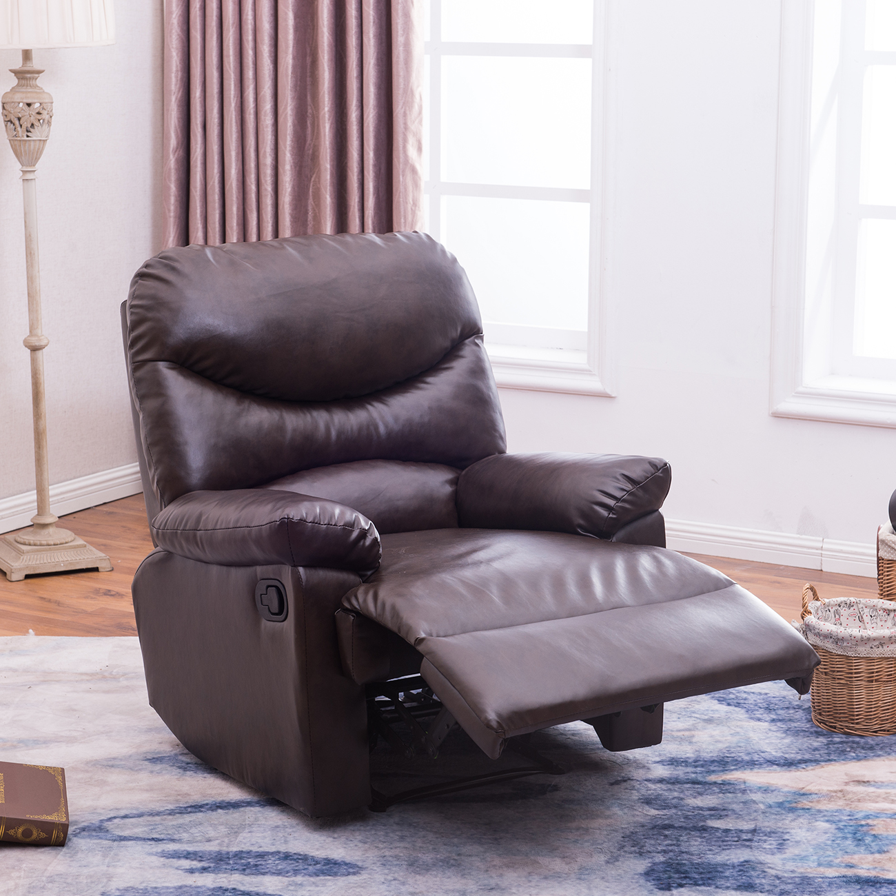 swivel recliner chairs for living room 2. Brown Coffee Leather Upholstered Recliner Chair Home Living Room Furniture  Den