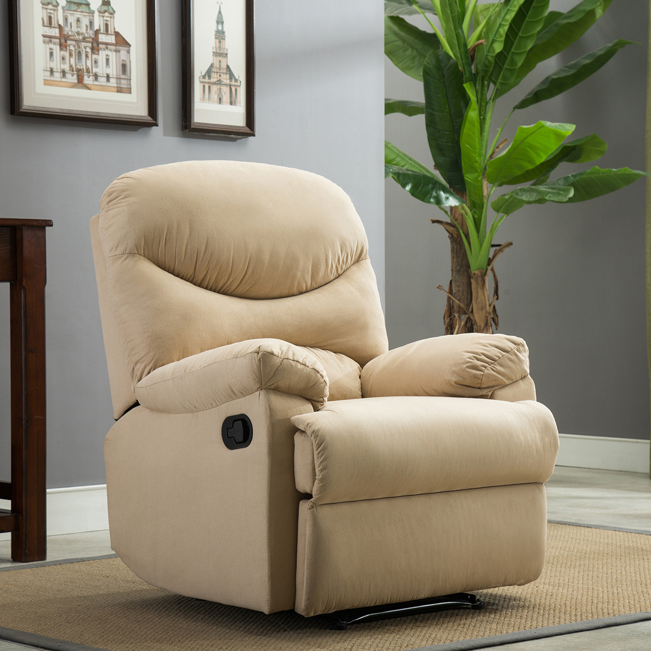 Marvelous Details About Plush Recliner Livingroom Reclining Chair Man Cave Tv Living Room Beige Brown Machost Co Dining Chair Design Ideas Machostcouk