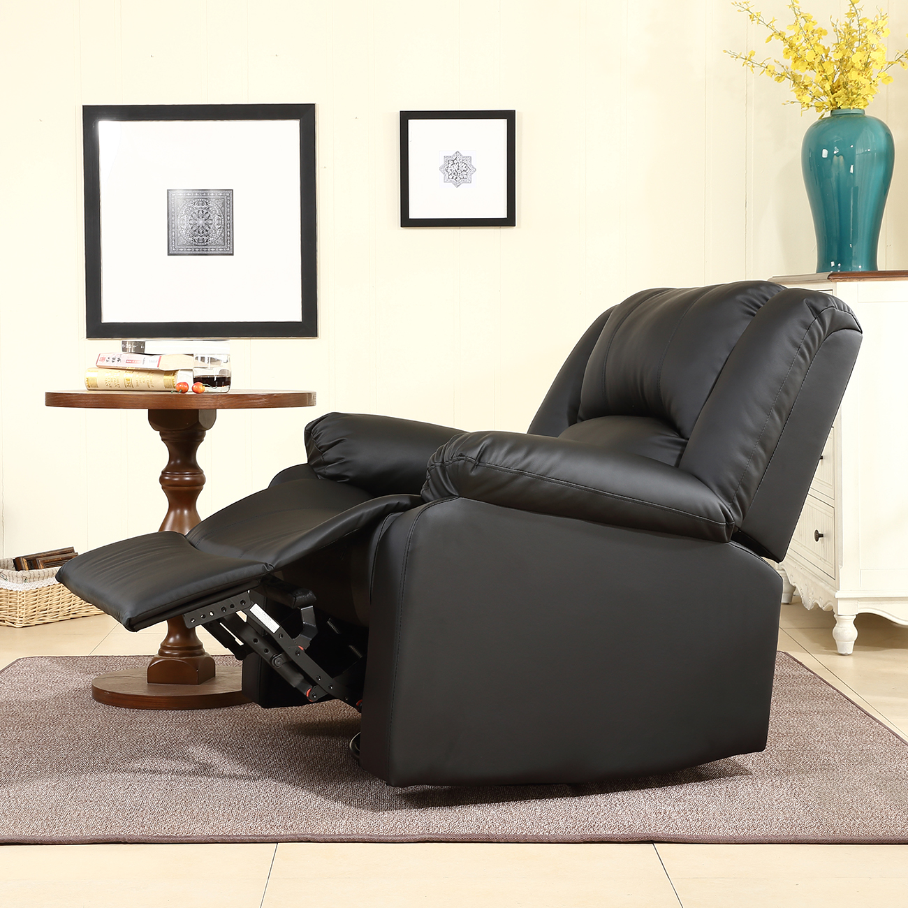 new recliner and rocking swivel chair leather seat living room black and brown ebay. Black Bedroom Furniture Sets. Home Design Ideas